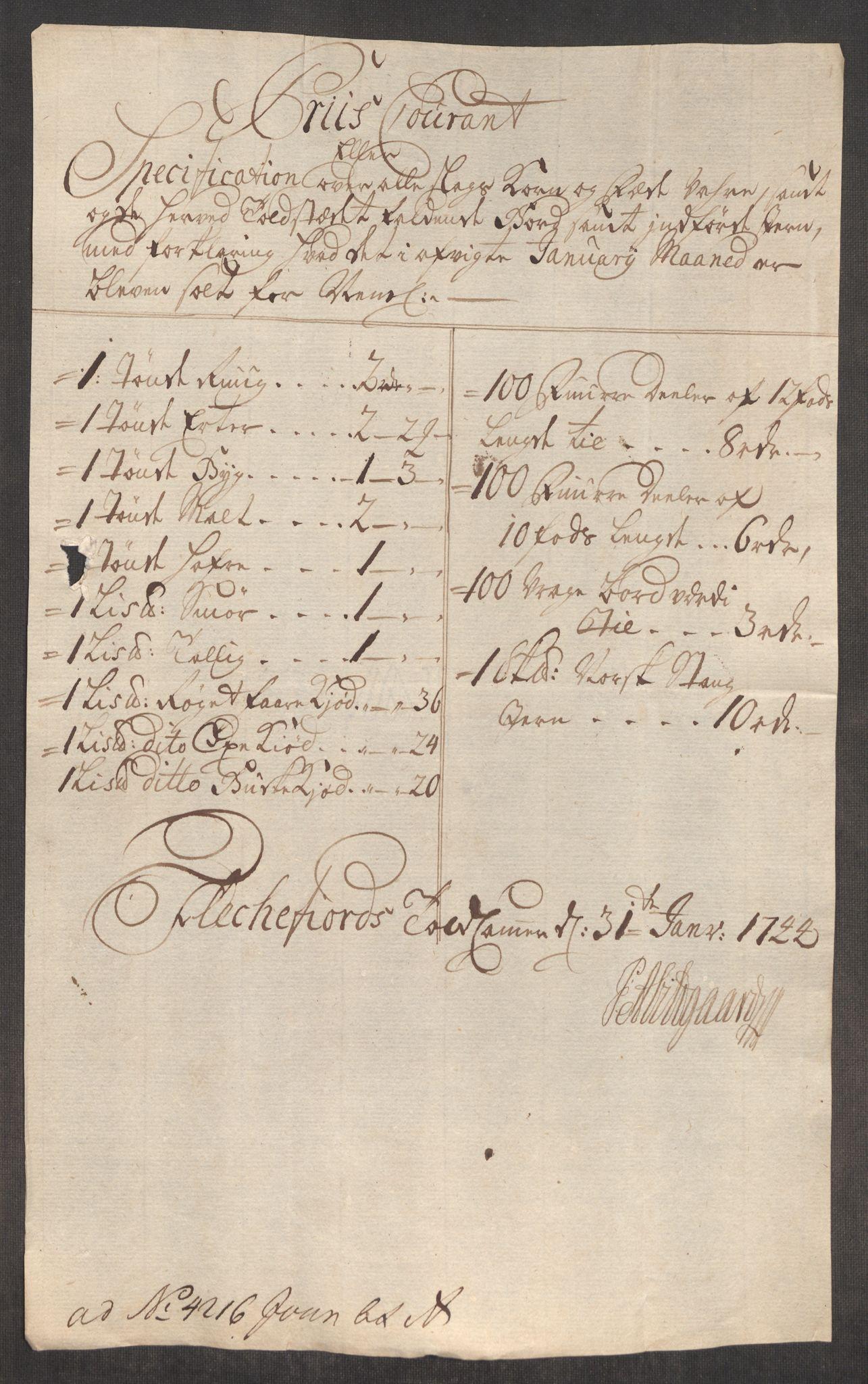 RA, Rentekammeret inntil 1814, Realistisk ordnet avdeling, Oe/L0002: [Ø1]: Priskuranter, 1740-1744, s. 1008