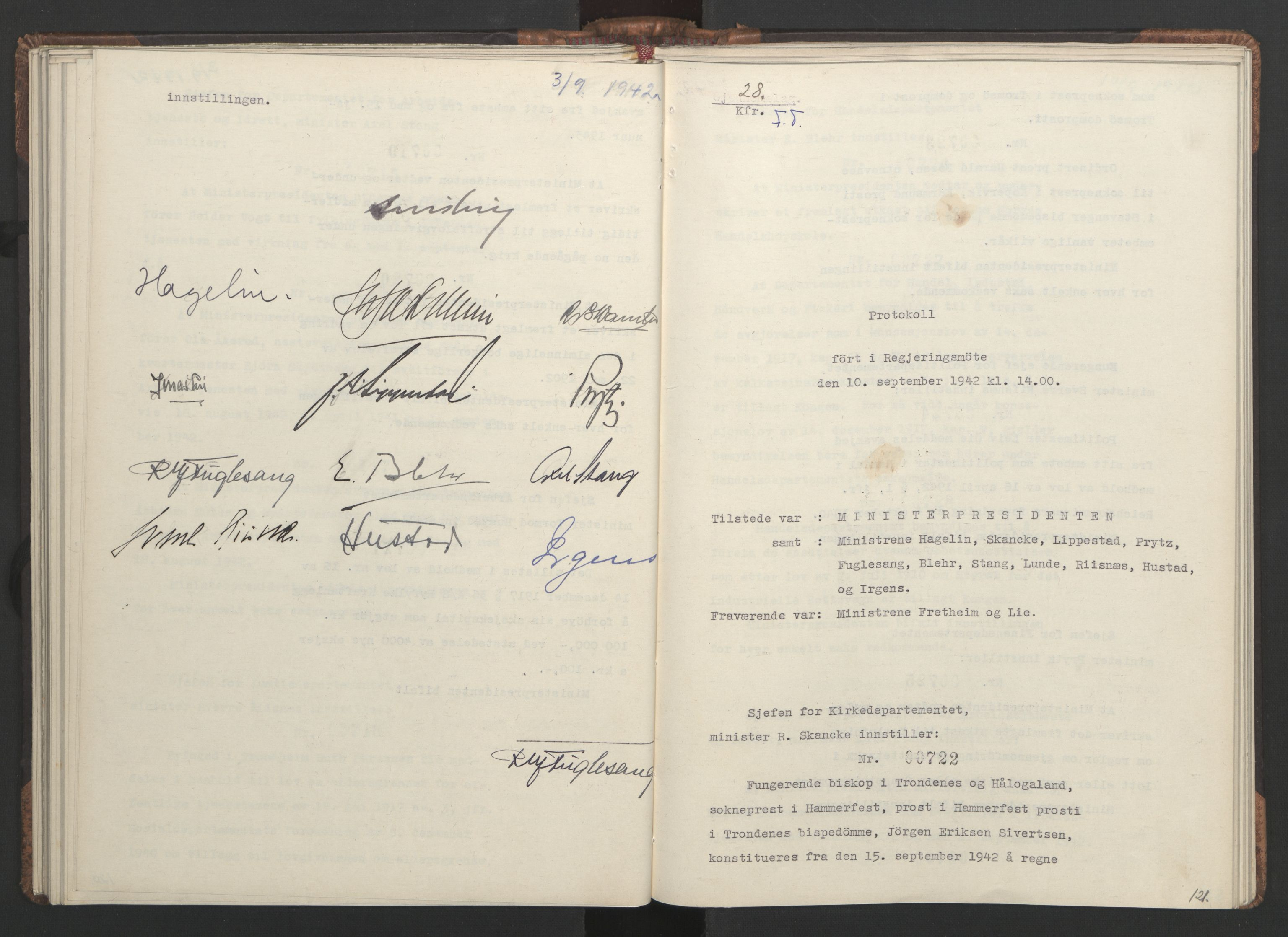RA, NS-administrasjonen 1940-1945 (Statsrådsekretariatet, de kommisariske statsråder mm), D/Da/L0001: Beslutninger og tillegg (1-952 og 1-32), 1942, s. 120b-121a