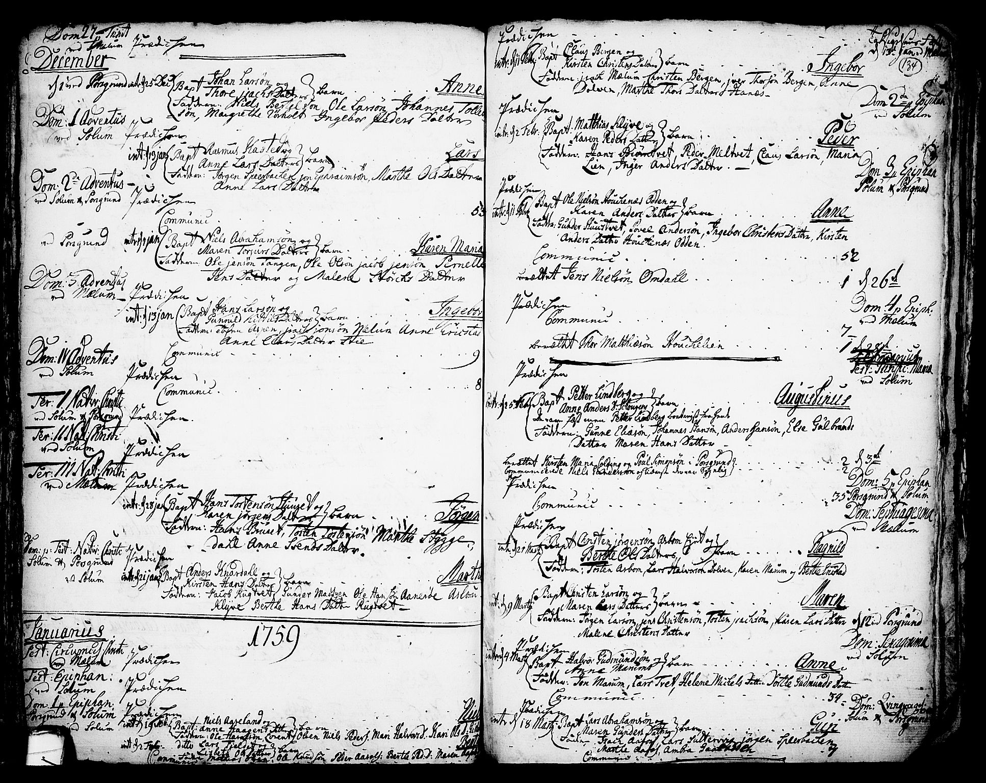 SAKO, Solum kirkebøker, F/Fa/L0002: Ministerialbok nr. I 2, 1713-1761, s. 134