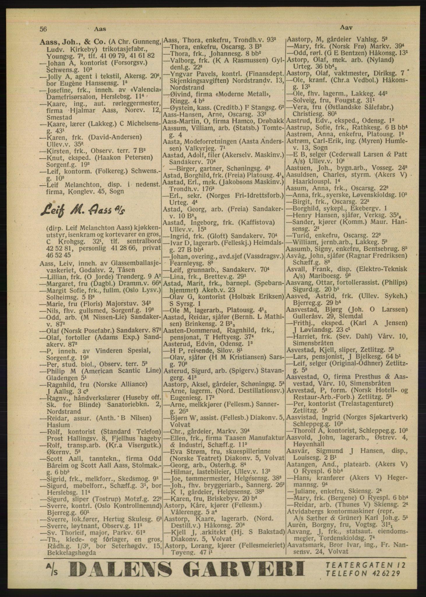 PUBL, Kristiania/Oslo adressebok, 1948, s. 56