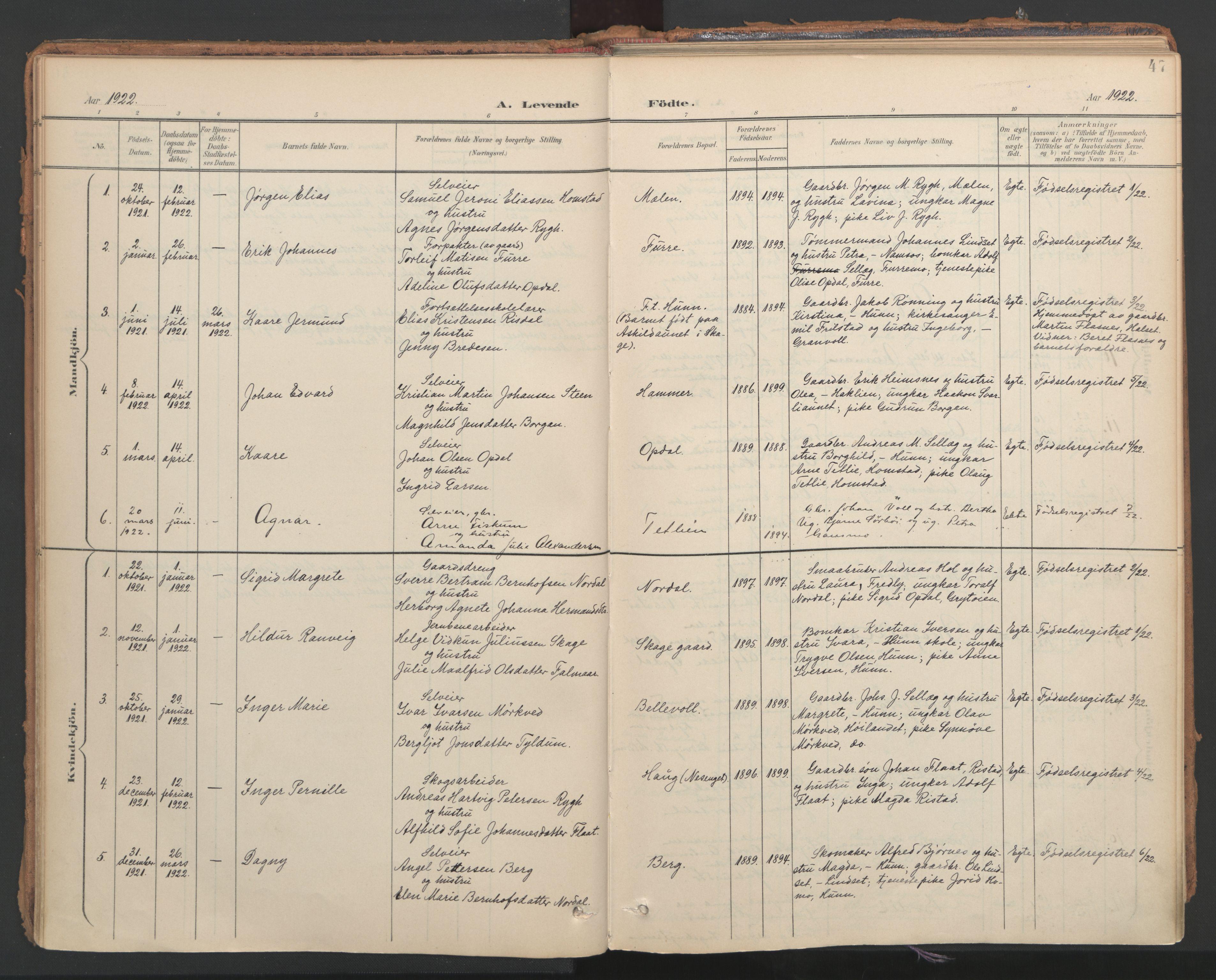 SAT, Ministerialprotokoller, klokkerbøker og fødselsregistre - Nord-Trøndelag, 766/L0564: Ministerialbok nr. 767A02, 1900-1932, s. 47