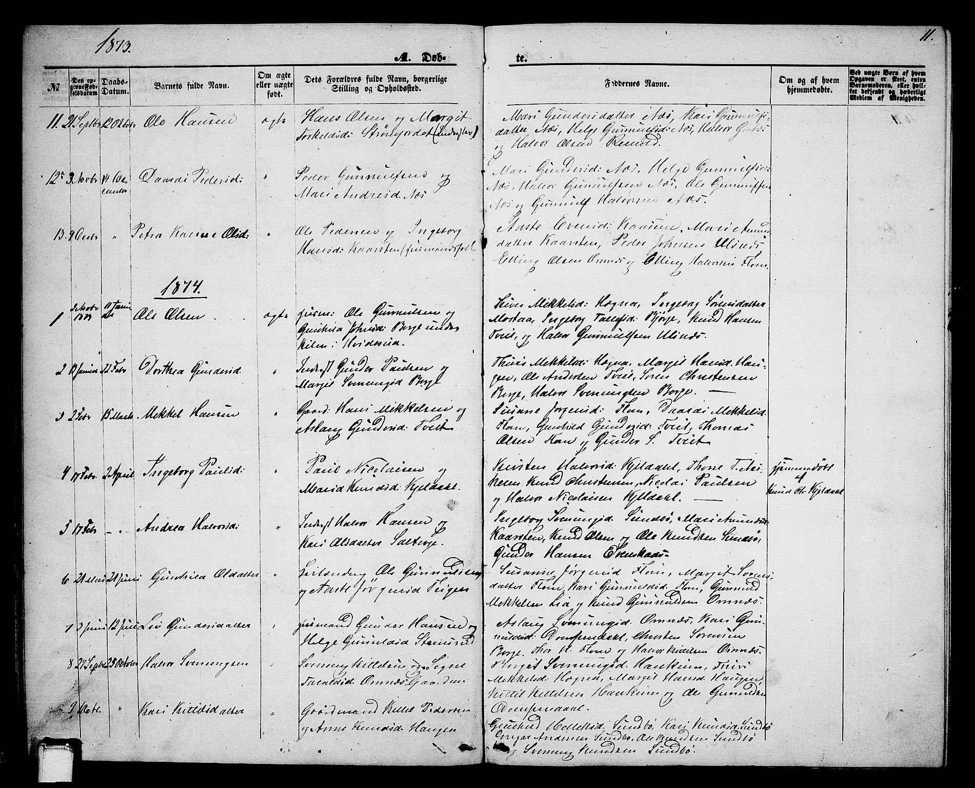 SAKO, Lunde kirkebøker, G/Gb/L0001: Klokkerbok nr. II 1, 1866-1887, s. 11