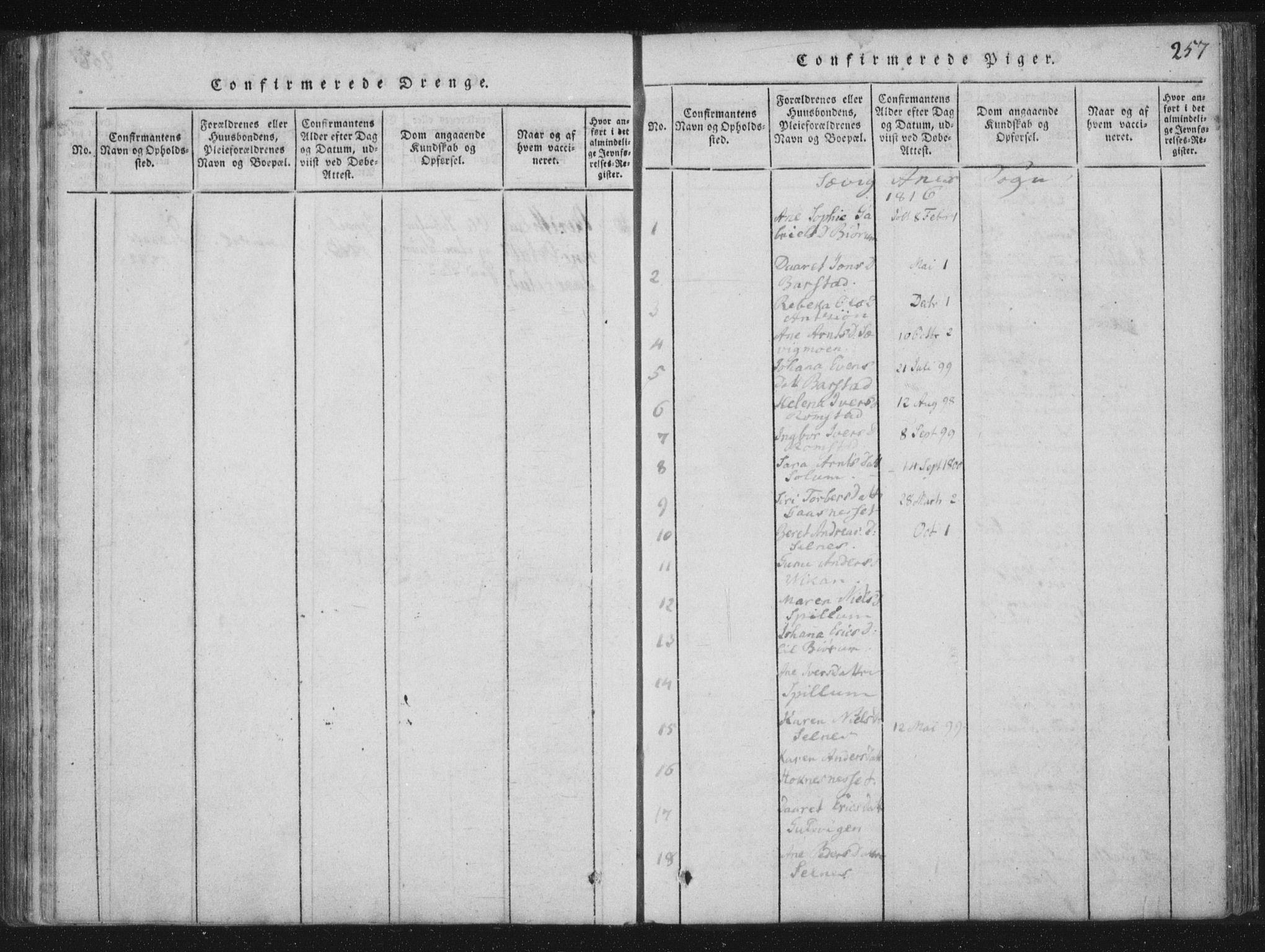 SAT, Ministerialprotokoller, klokkerbøker og fødselsregistre - Nord-Trøndelag, 773/L0609: Ministerialbok nr. 773A03 /4, 1815-1818, s. 257