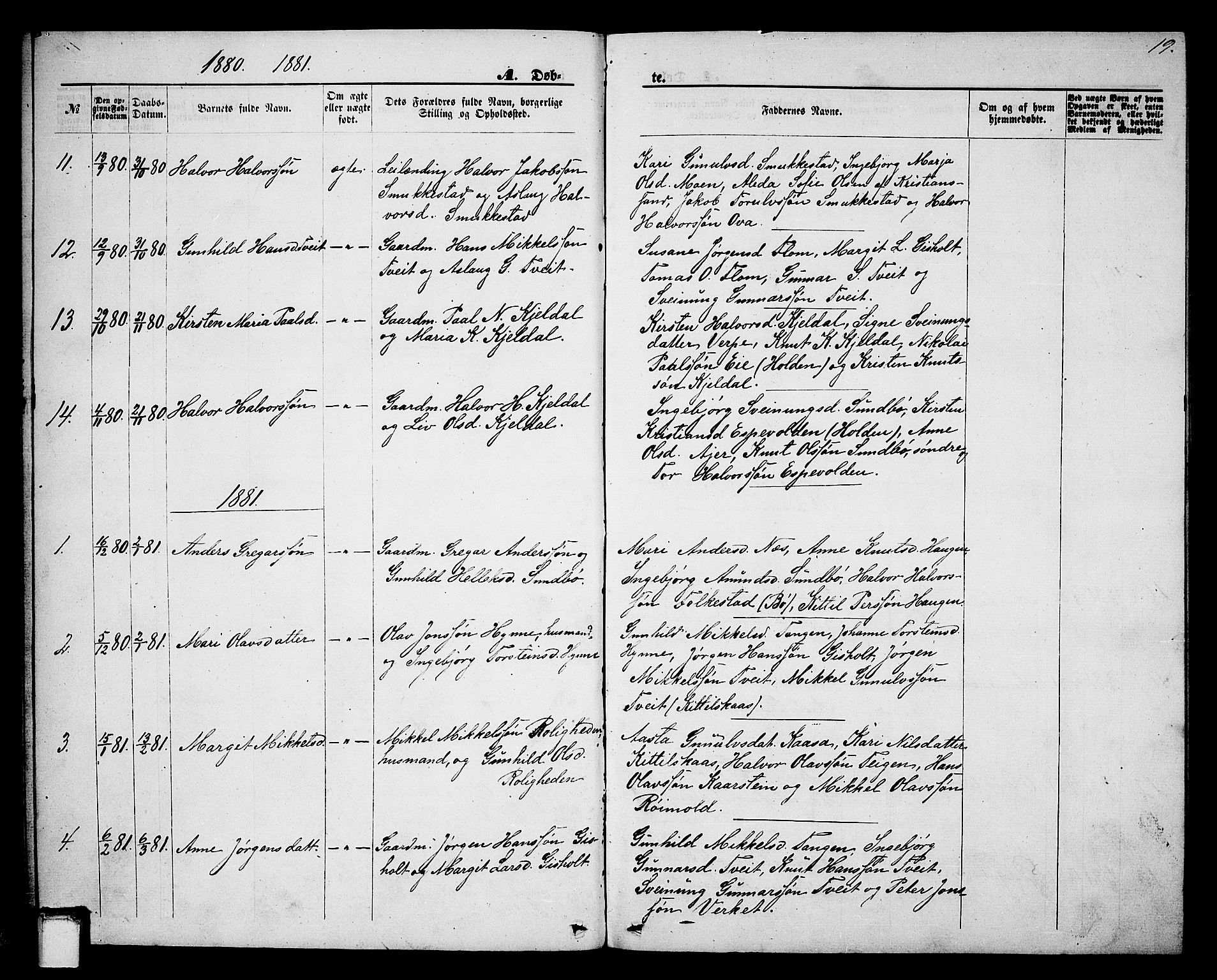 SAKO, Lunde kirkebøker, G/Gb/L0001: Klokkerbok nr. II 1, 1866-1887, s. 19