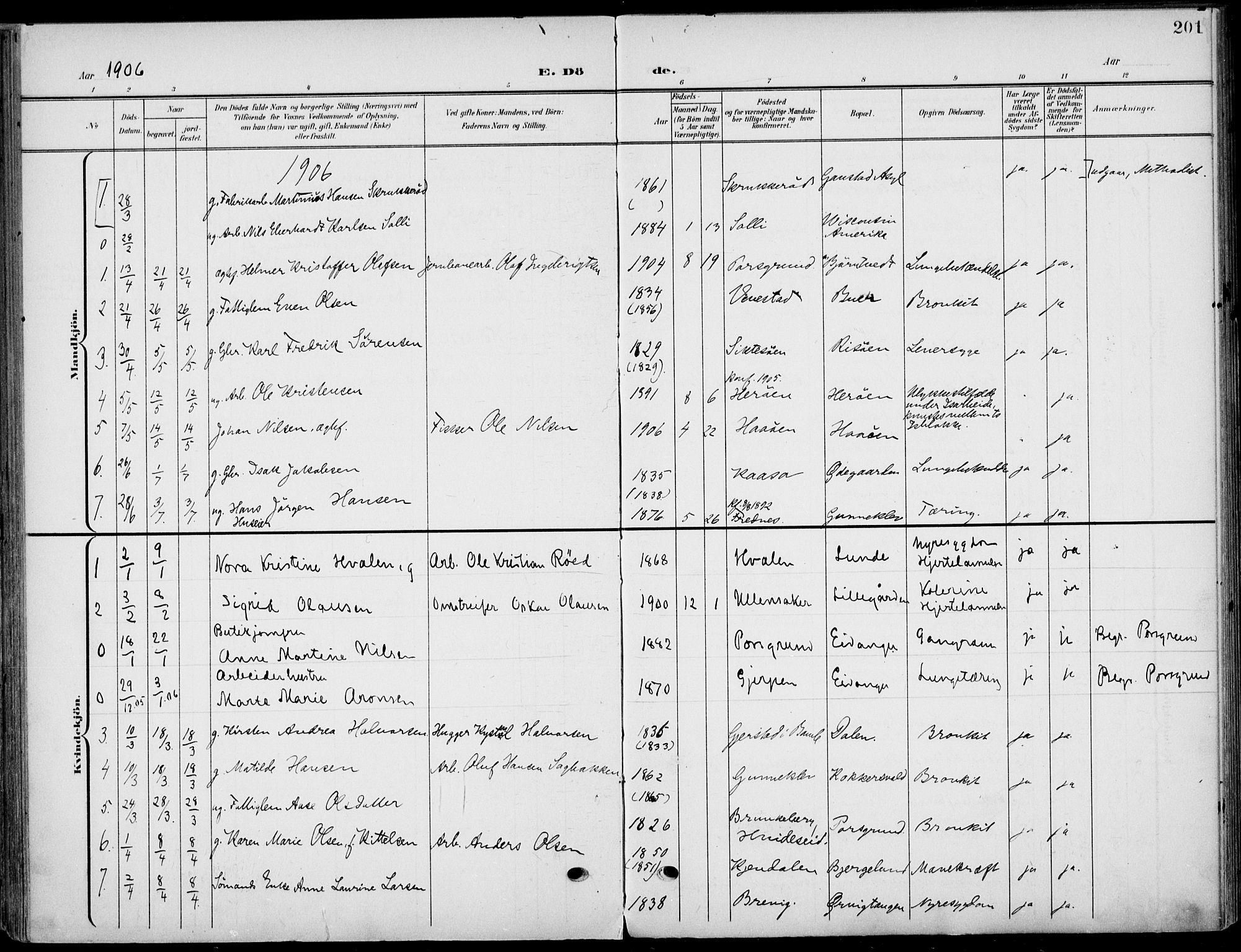 SAKO, Eidanger kirkebøker, F/Fa/L0013: Ministerialbok nr. 13, 1900-1913, s. 201