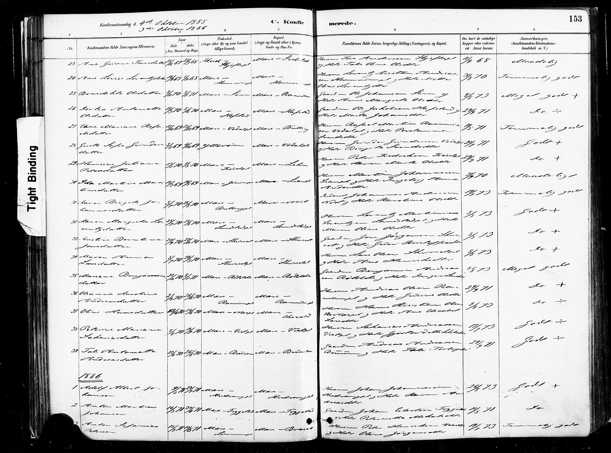 SAT, Ministerialprotokoller, klokkerbøker og fødselsregistre - Nord-Trøndelag, 735/L0351: Ministerialbok nr. 735A10, 1884-1908, s. 153