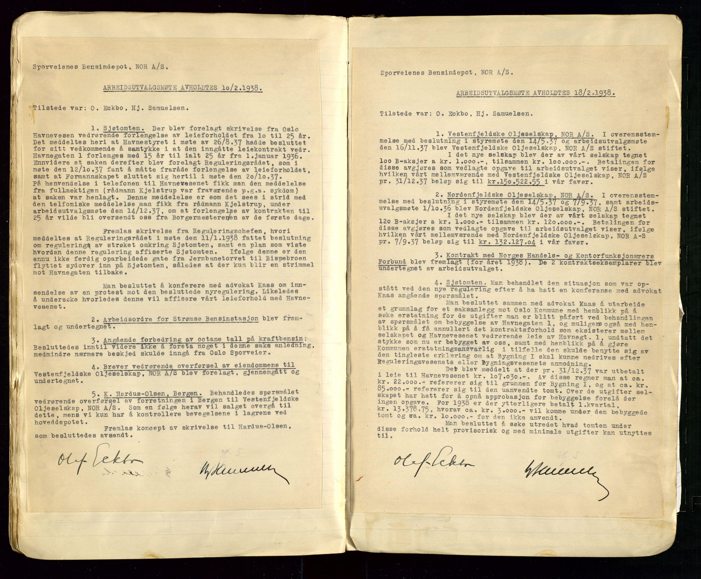 SAST, PA 1514 - Sporveienes Bensindepot, Norsk Oljeraffineri A/S, A/L0002: Forhandlingsprotokoll Arbeidsutvaget, 1932-1946, s. 69