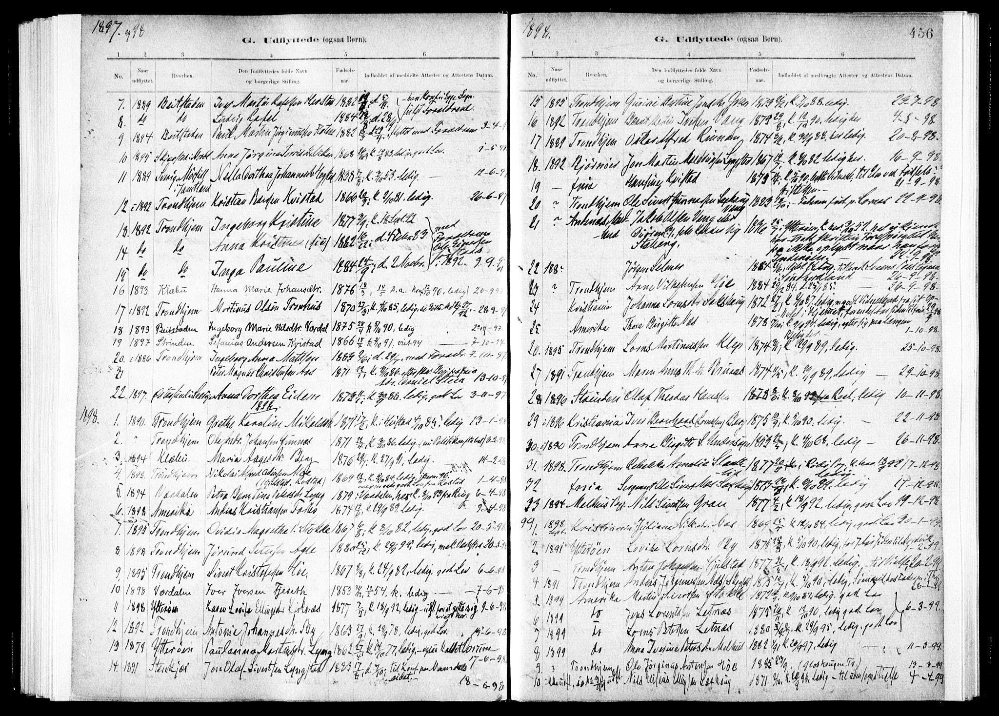 SAT, Ministerialprotokoller, klokkerbøker og fødselsregistre - Nord-Trøndelag, 730/L0285: Ministerialbok nr. 730A10, 1879-1914, s. 456