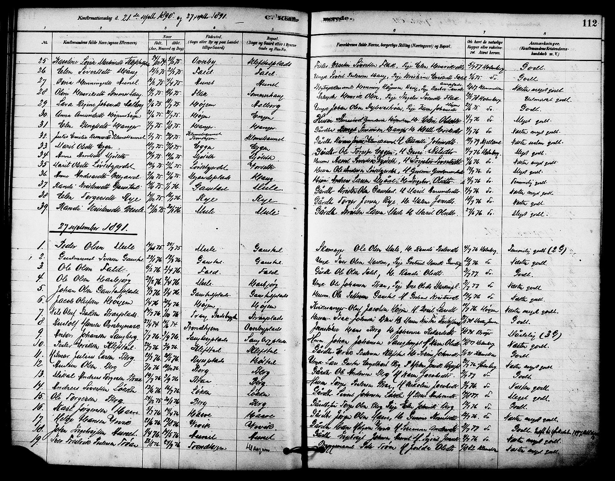 SAT, Ministerialprotokoller, klokkerbøker og fødselsregistre - Sør-Trøndelag, 612/L0378: Ministerialbok nr. 612A10, 1878-1897, s. 112