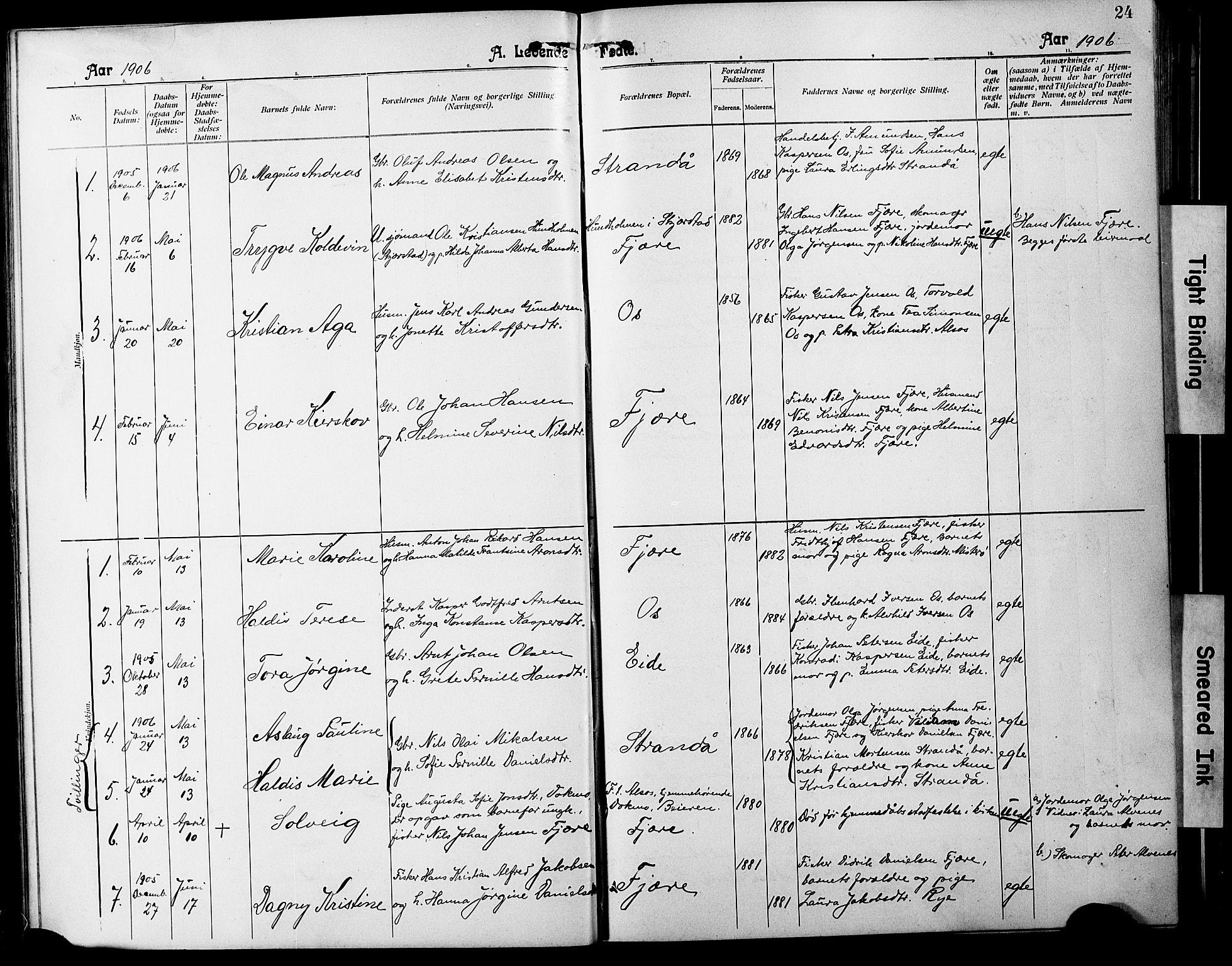 SAT, Ministerialprotokoller, klokkerbøker og fødselsregistre - Nordland, 803/L0077: Klokkerbok nr. 803C04, 1897-1930, s. 24