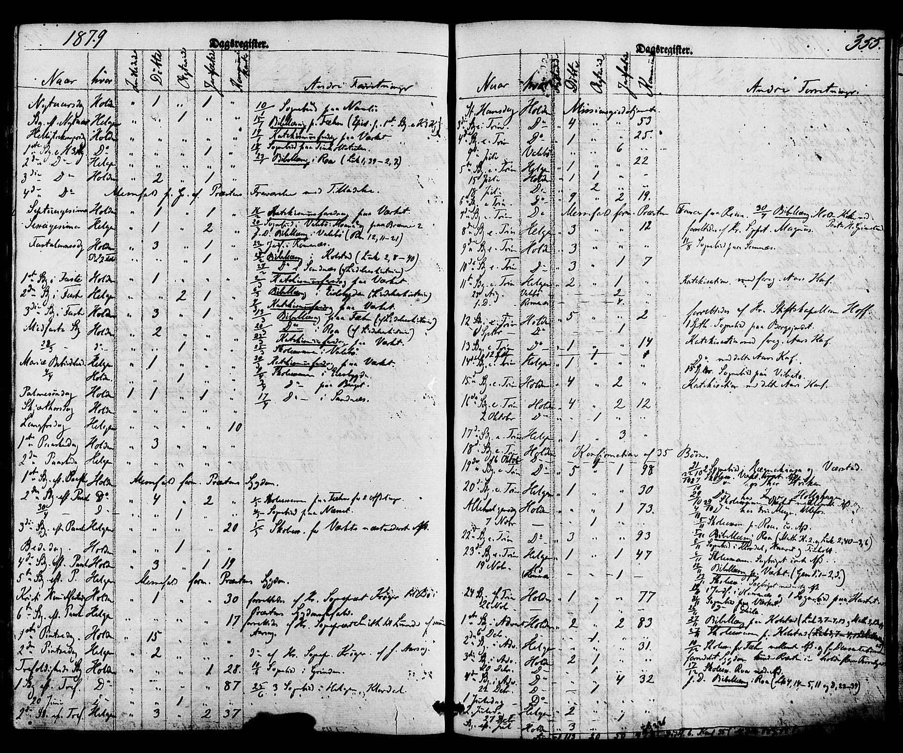 SAKO, Holla kirkebøker, F/Fa/L0007: Ministerialbok nr. 7, 1869-1881, s. 355