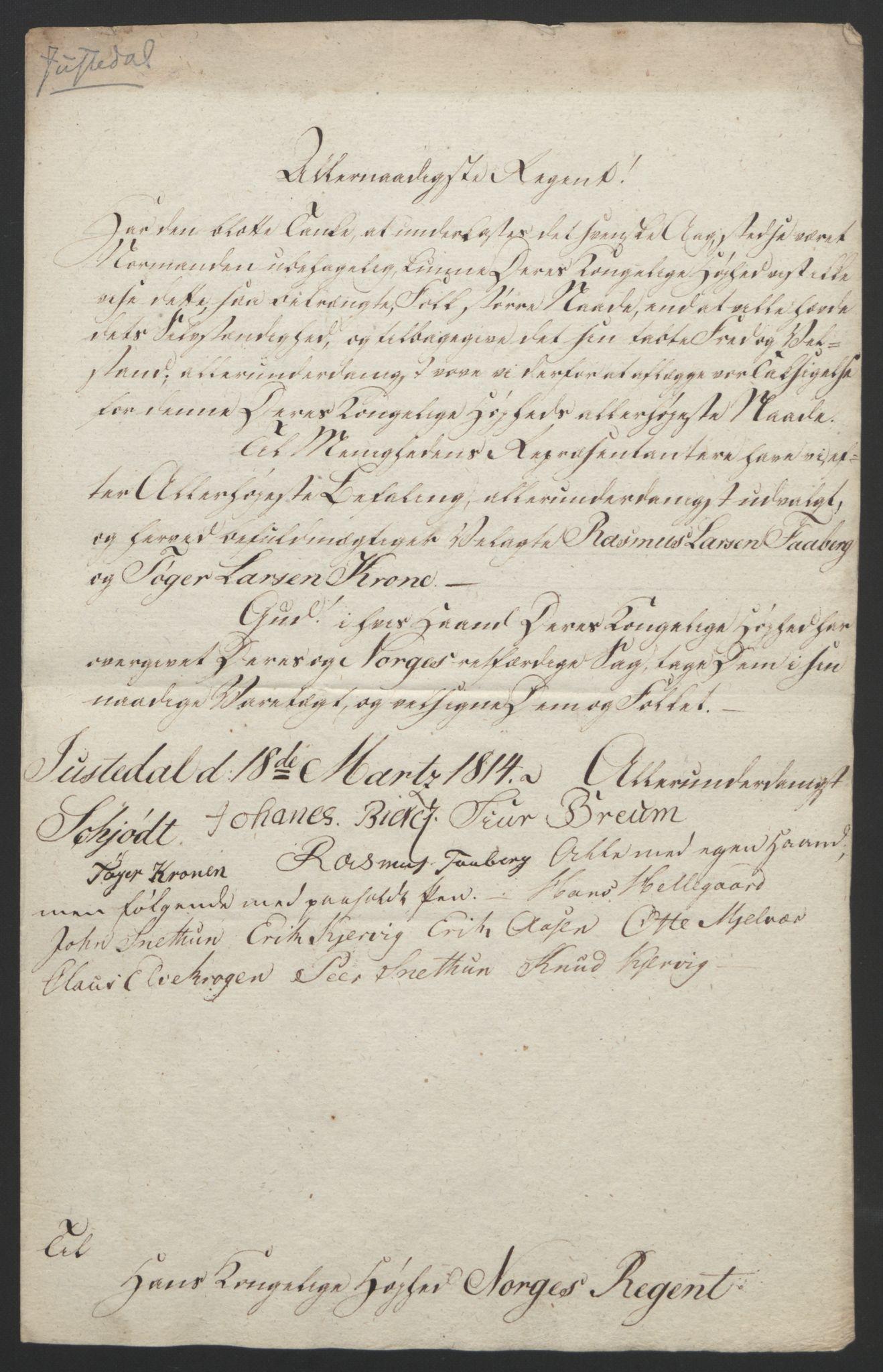 RA, Statsrådssekretariatet, D/Db/L0008: Fullmakter for Eidsvollsrepresentantene i 1814. , 1814, s. 329