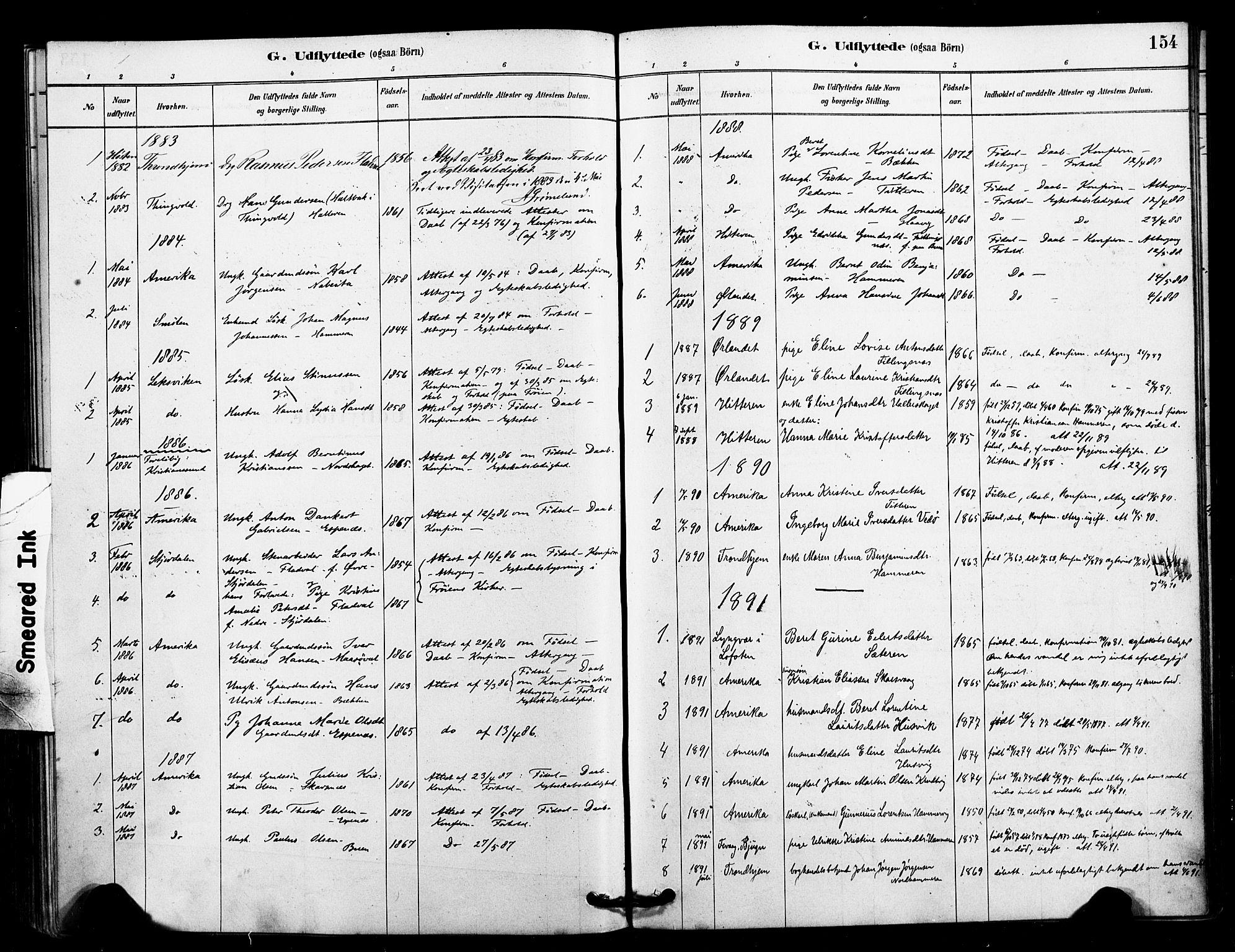 SAT, Ministerialprotokoller, klokkerbøker og fødselsregistre - Sør-Trøndelag, 641/L0595: Ministerialbok nr. 641A01, 1882-1897, s. 154