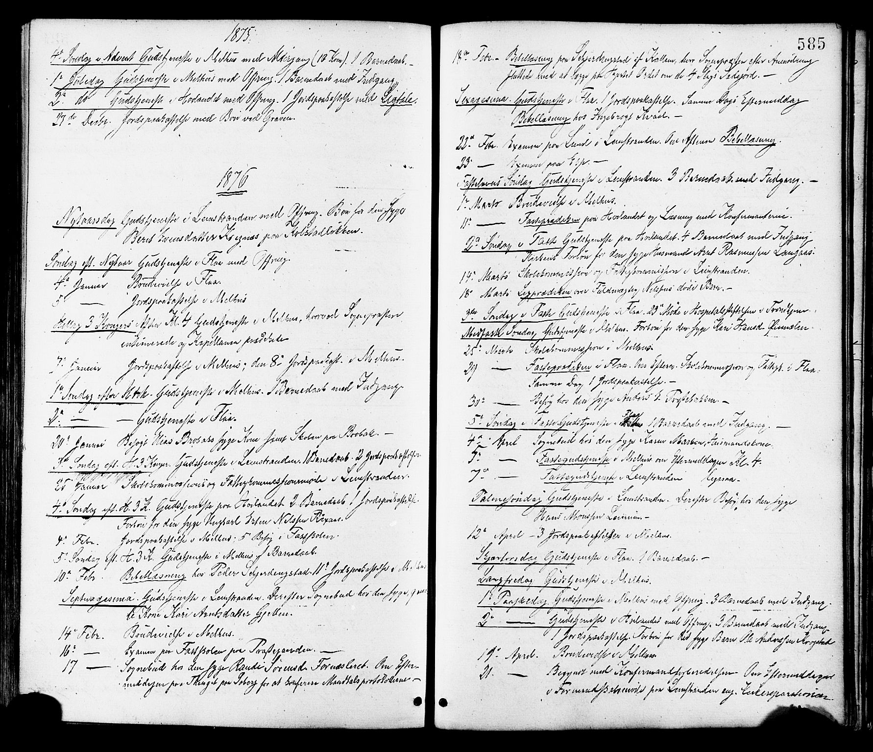 SAT, Ministerialprotokoller, klokkerbøker og fødselsregistre - Sør-Trøndelag, 691/L1079: Ministerialbok nr. 691A11, 1873-1886, s. 585