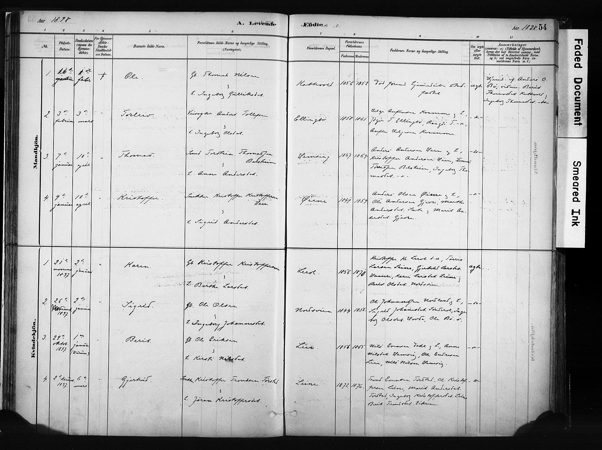 SAH, Vang prestekontor, Valdres, Ministerialbok nr. 8, 1882-1910, s. 54