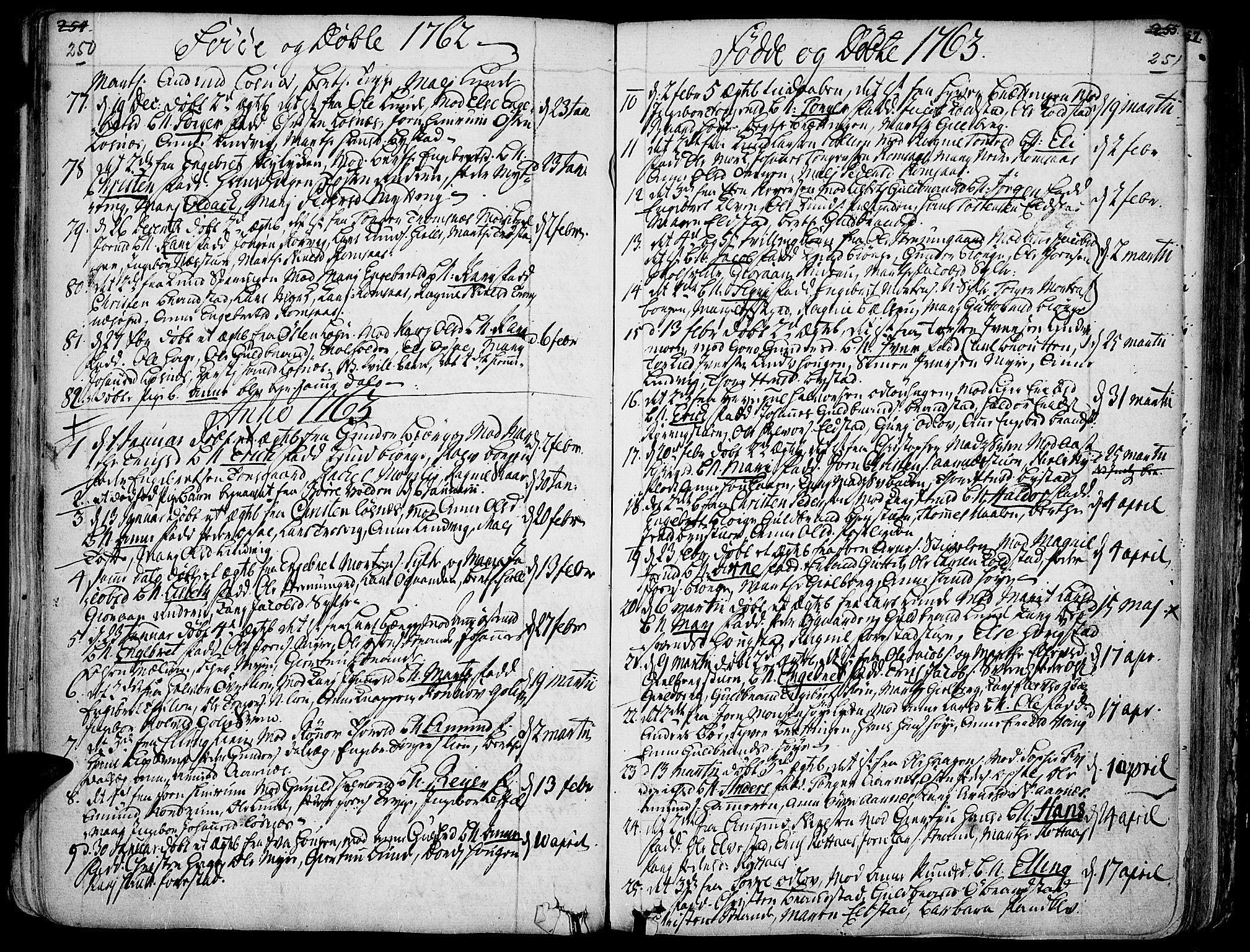 SAH, Ringebu prestekontor, Ministerialbok nr. 2, 1734-1780, s. 250-251