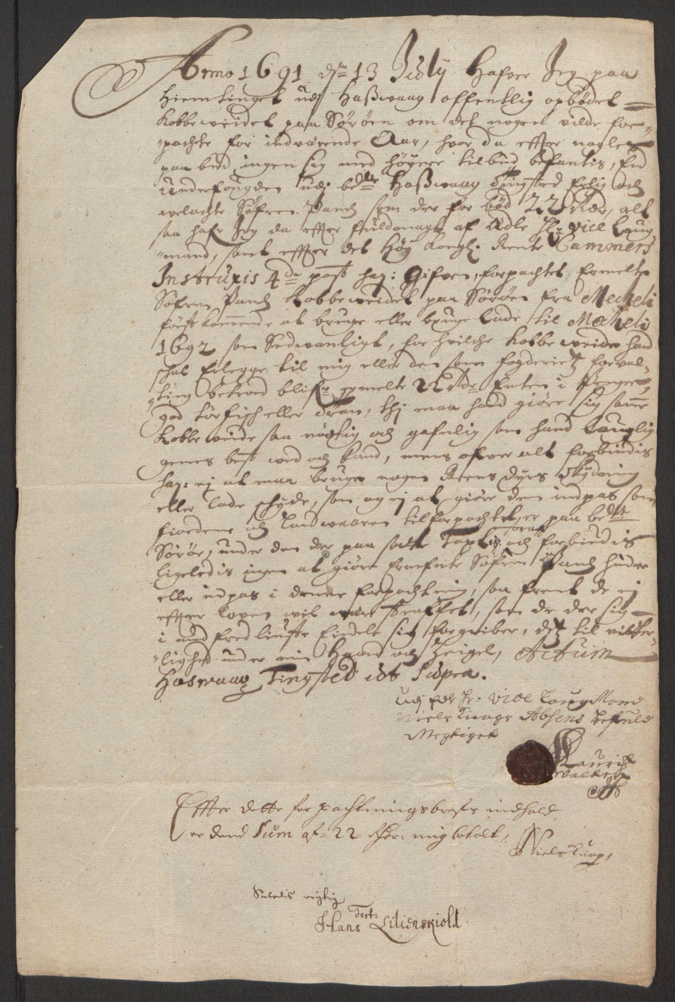 RA, Rentekammeret inntil 1814, Reviderte regnskaper, Fogderegnskap, R69/L4851: Fogderegnskap Finnmark/Vardøhus, 1691-1700, s. 36