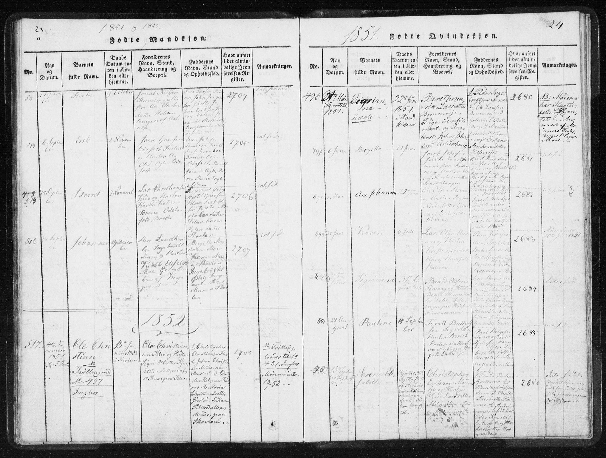 SAT, Ministerialprotokoller, klokkerbøker og fødselsregistre - Nord-Trøndelag, 749/L0471: Ministerialbok nr. 749A05, 1847-1856, s. 23-24