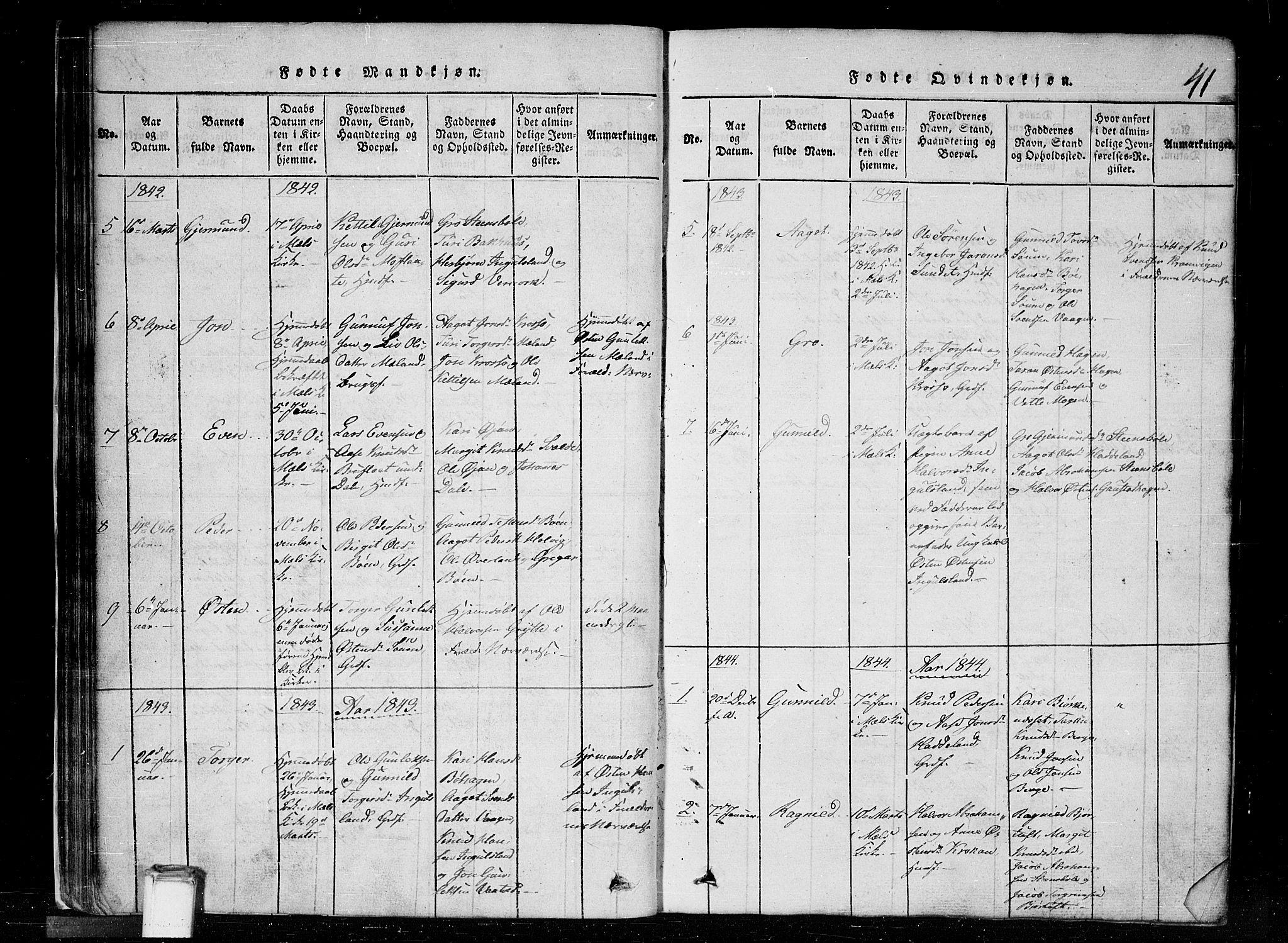 SAKO, Tinn kirkebøker, G/Gc/L0001: Klokkerbok nr. III 1, 1815-1879, s. 41