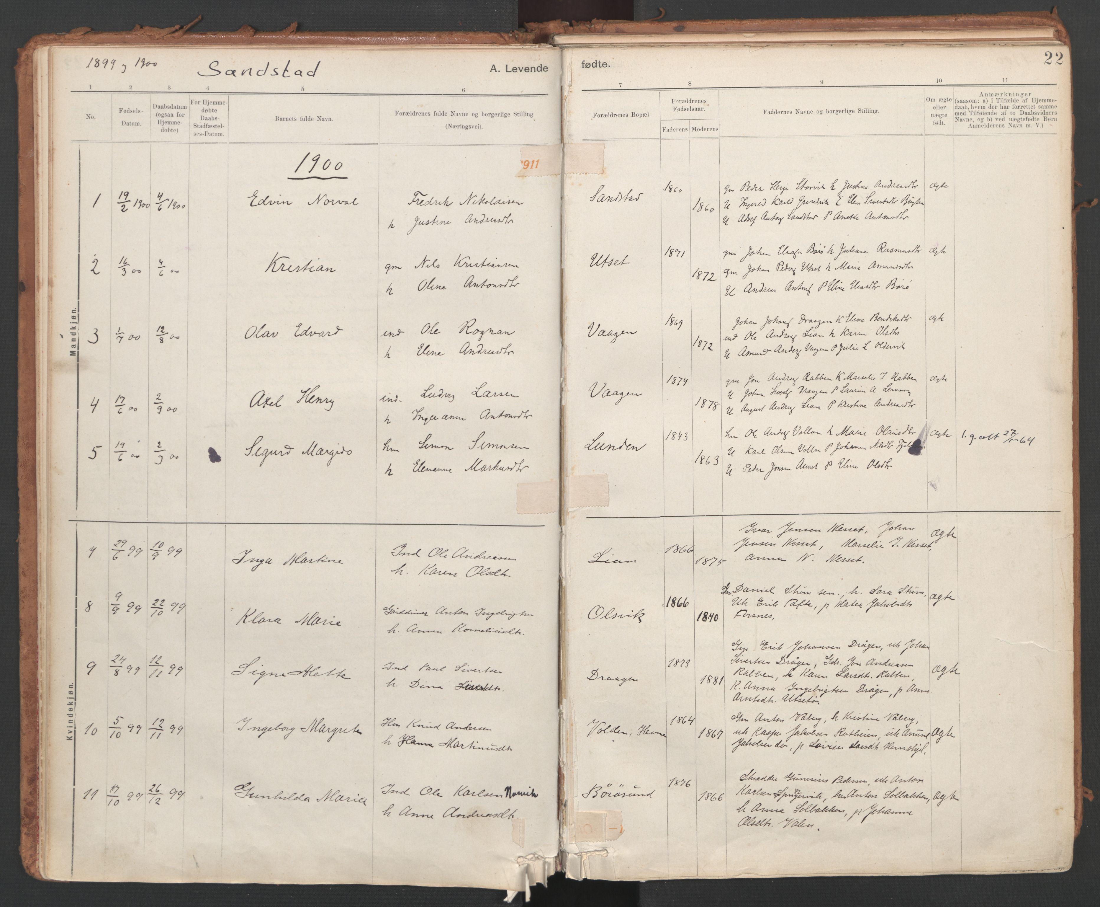SAT, Ministerialprotokoller, klokkerbøker og fødselsregistre - Sør-Trøndelag, 639/L0572: Ministerialbok nr. 639A01, 1890-1920, s. 22