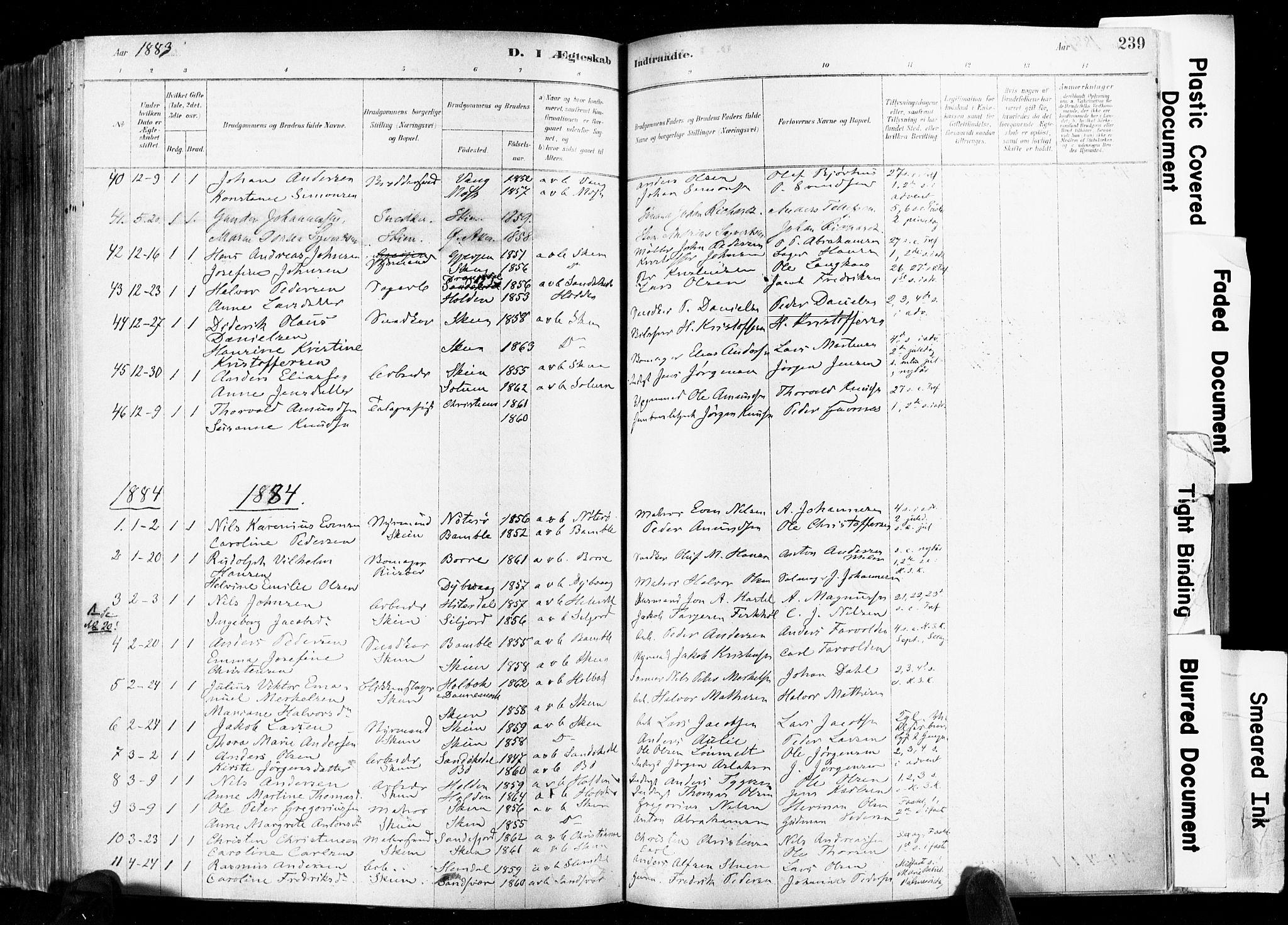 SAKO, Skien kirkebøker, F/Fa/L0009: Ministerialbok nr. 9, 1878-1890, s. 239