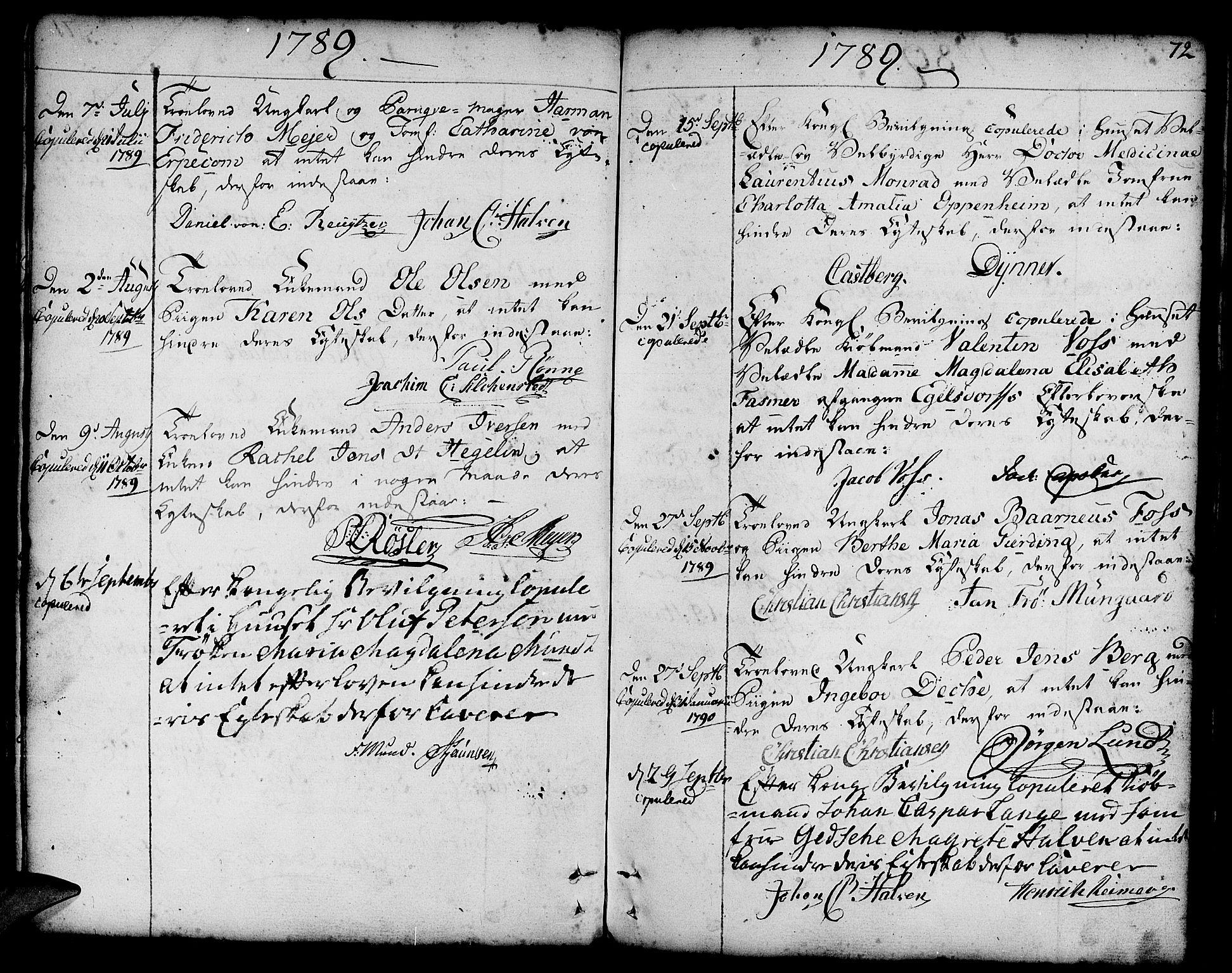 SAB, Nykirken Sokneprestembete, H/Haa: Ministerialbok nr. A 8, 1776-1814, s. 72