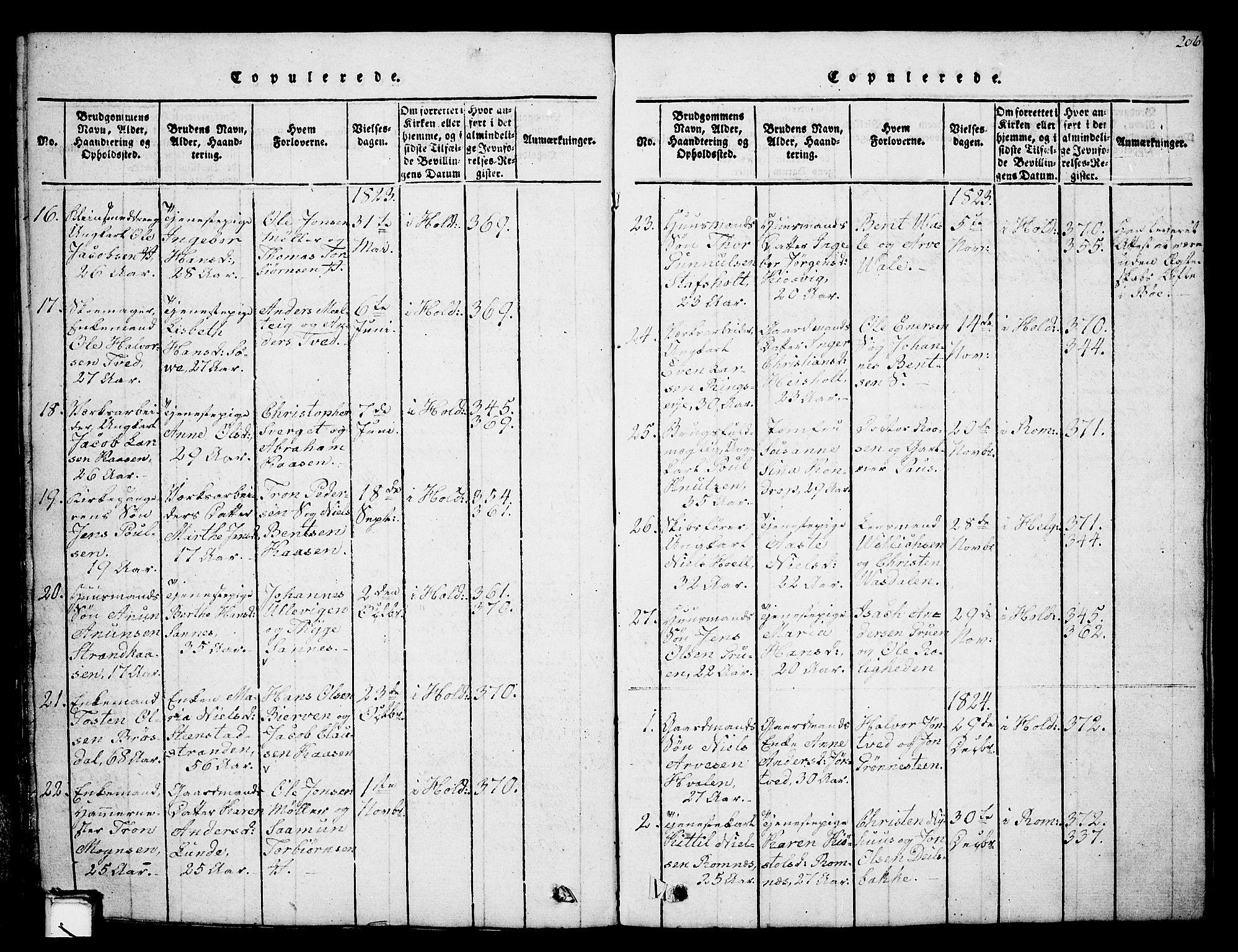 SAKO, Holla kirkebøker, G/Ga/L0001: Klokkerbok nr. I 1, 1814-1830, s. 206