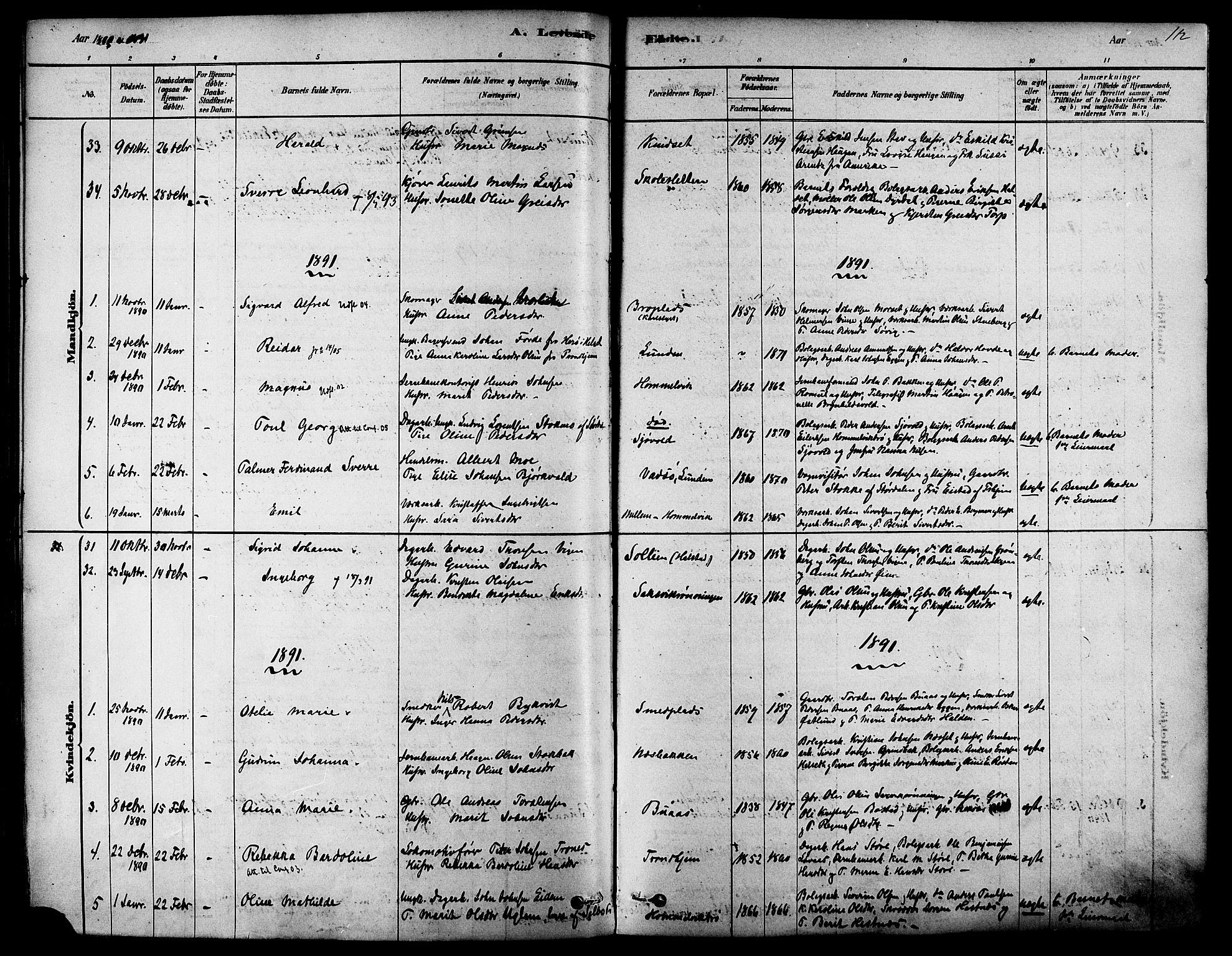 SAT, Ministerialprotokoller, klokkerbøker og fødselsregistre - Sør-Trøndelag, 616/L0410: Ministerialbok nr. 616A07, 1878-1893, s. 112