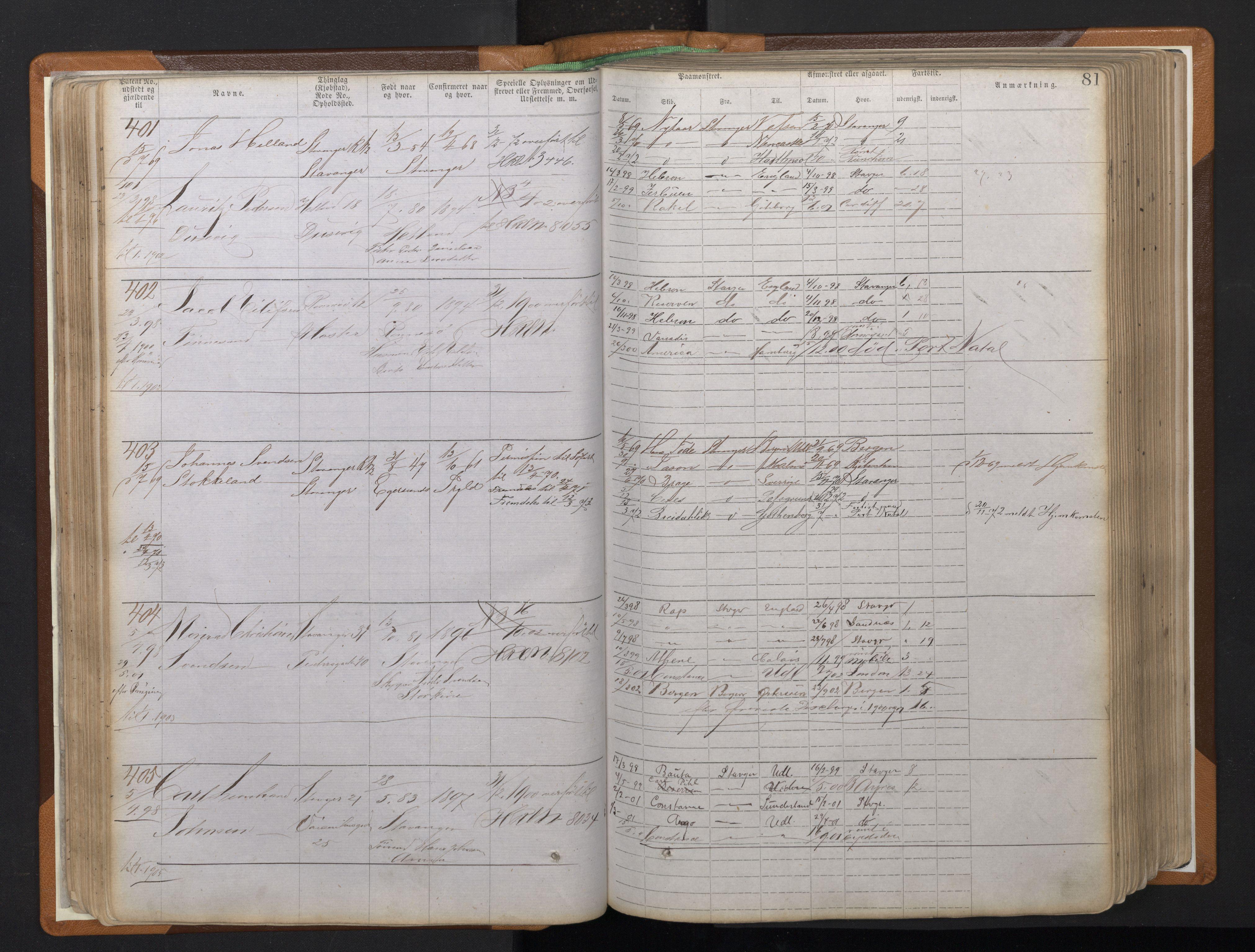 SAST, Stavanger sjømannskontor, F/Ff/L0008: Annotasjonsrulle, patentnr. 1-1805 (dublett), 1869-1900, s. 85