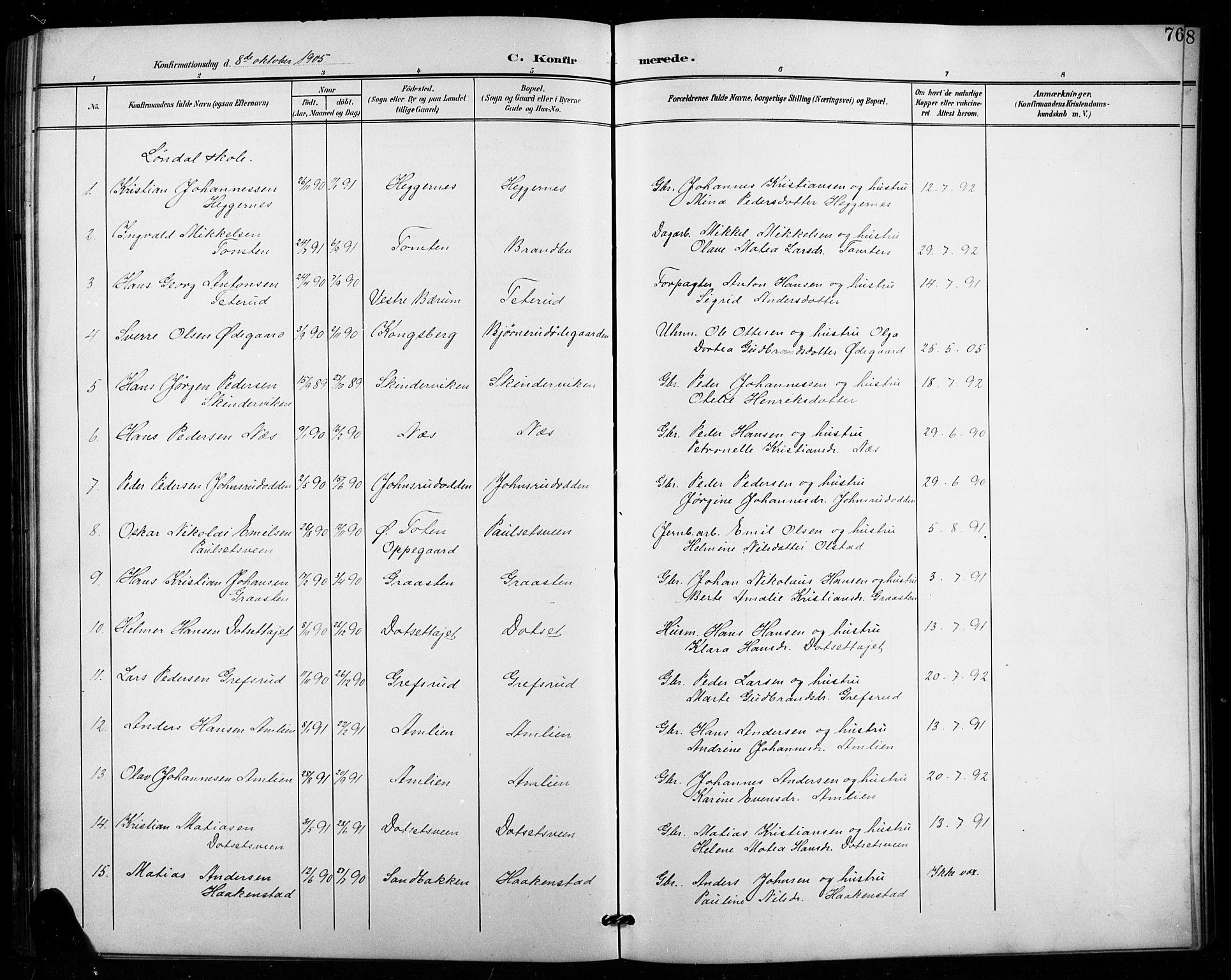 SAH, Vestre Toten prestekontor, Klokkerbok nr. 16, 1901-1915, s. 76