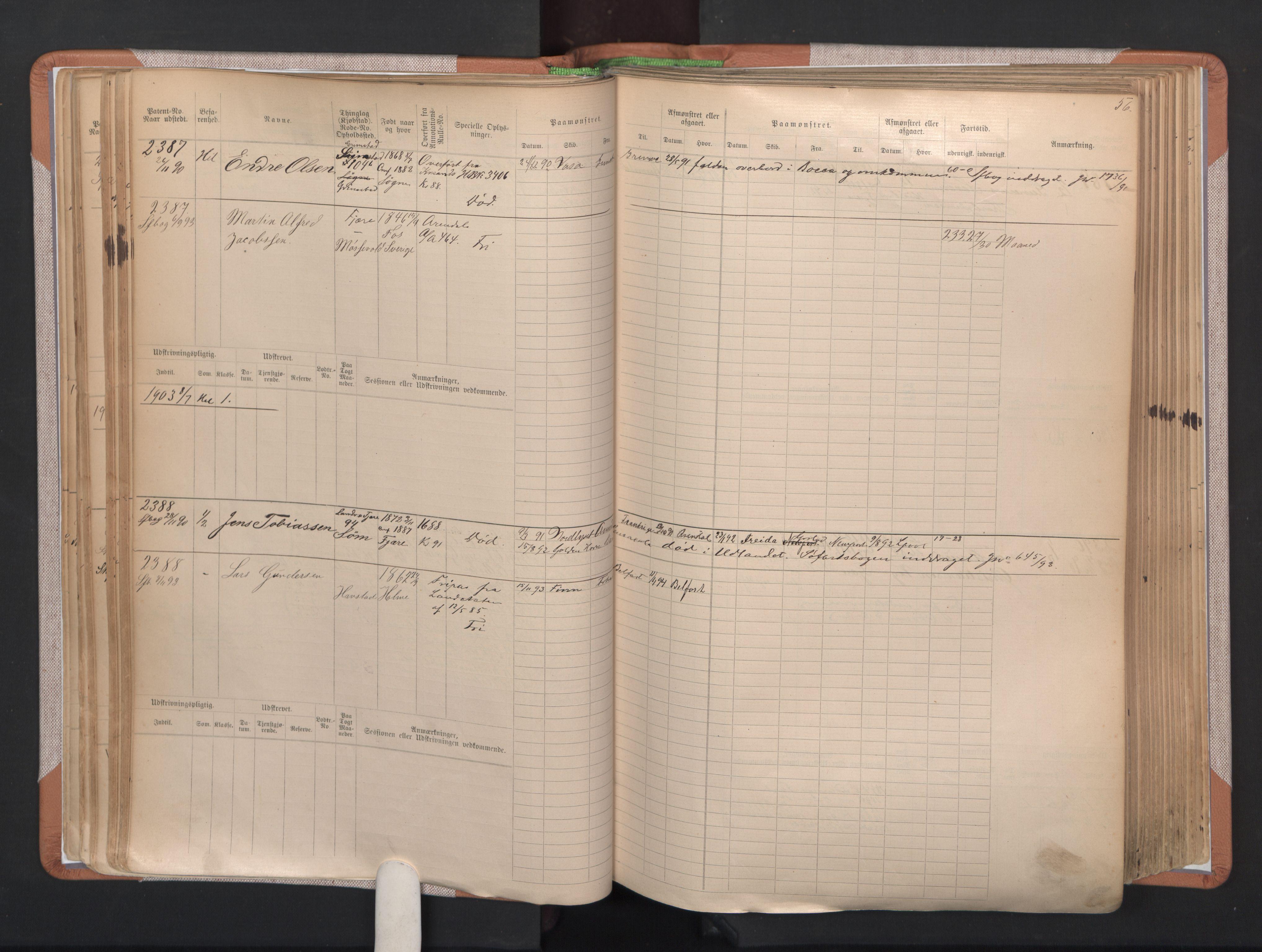 SAK, Grimstad mønstringskrets, F/Fb/L0004: Hovedrulle A nr 2277-3042, F-7, 1889-1940, s. 61