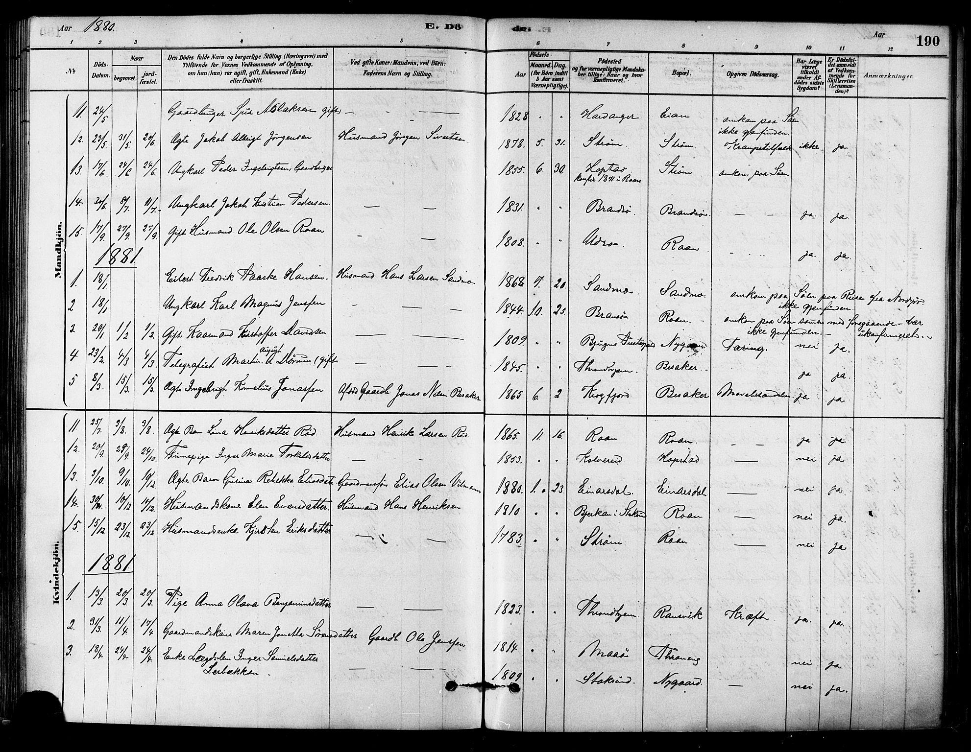 SAT, Ministerialprotokoller, klokkerbøker og fødselsregistre - Sør-Trøndelag, 657/L0707: Ministerialbok nr. 657A08, 1879-1893, s. 190