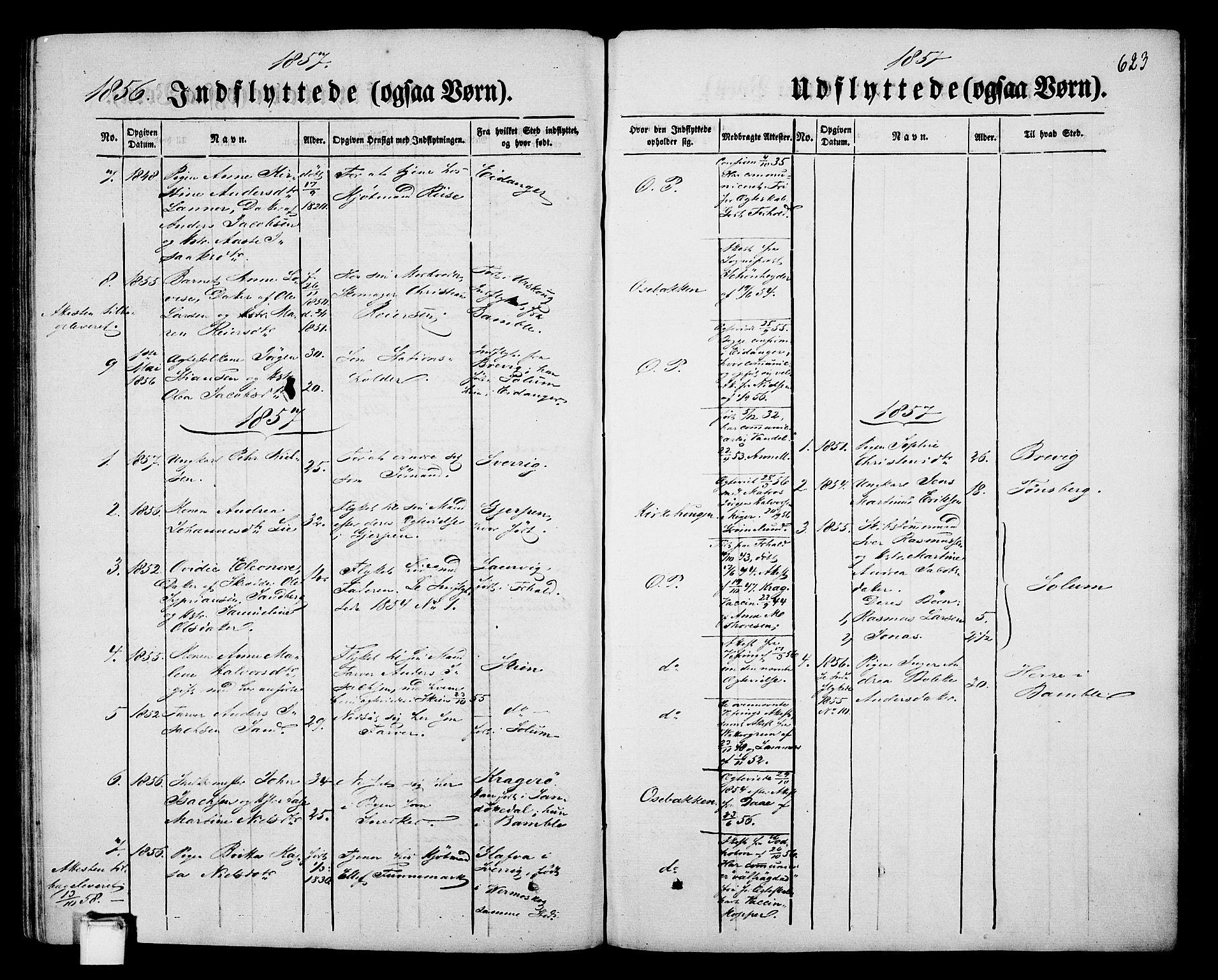 SAKO, Porsgrunn kirkebøker , G/Gb/L0004: Klokkerbok nr. II 4, 1853-1882, s. 623