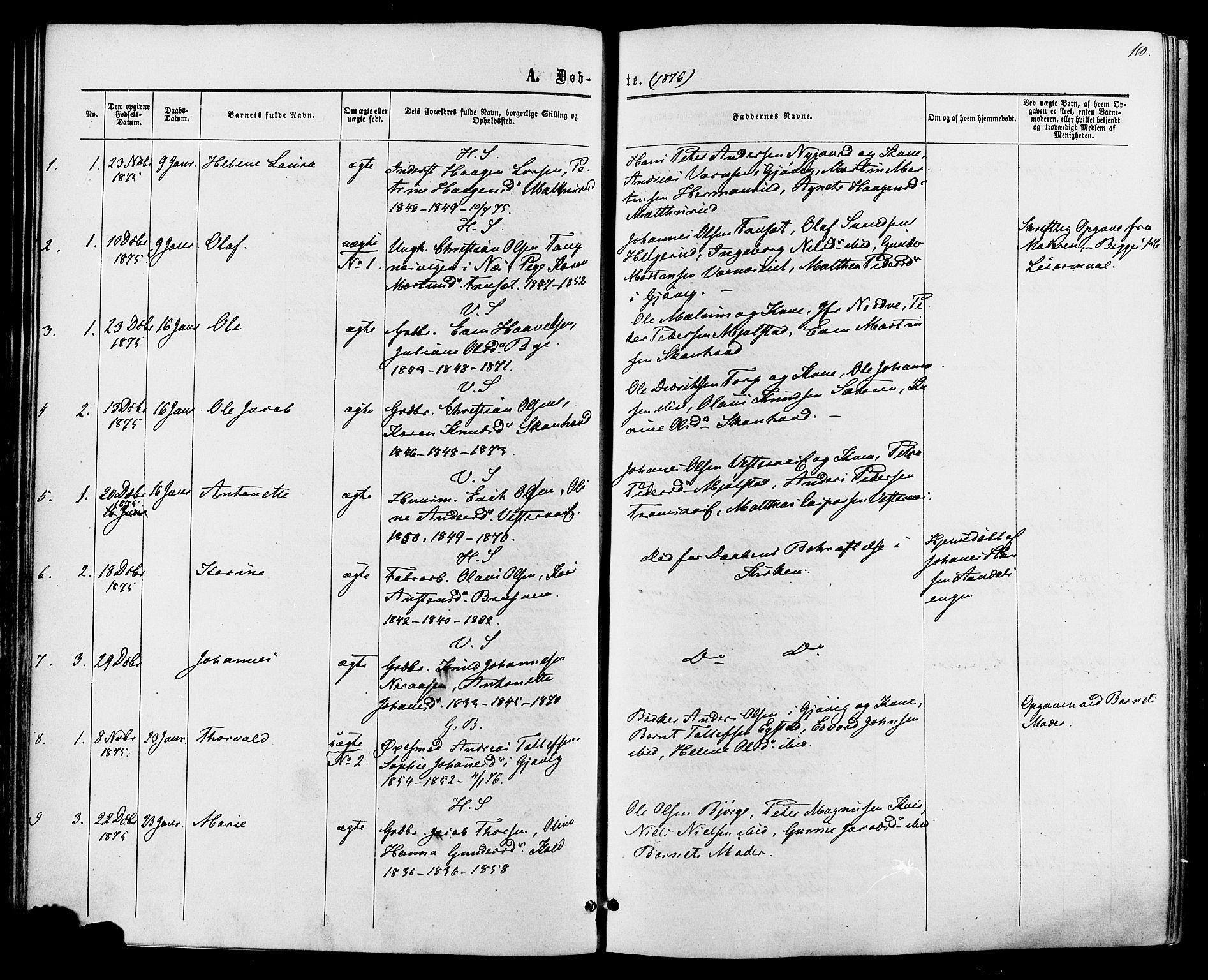 SAH, Vardal prestekontor, H/Ha/Haa/L0007: Ministerialbok nr. 7, 1867-1878, s. 110
