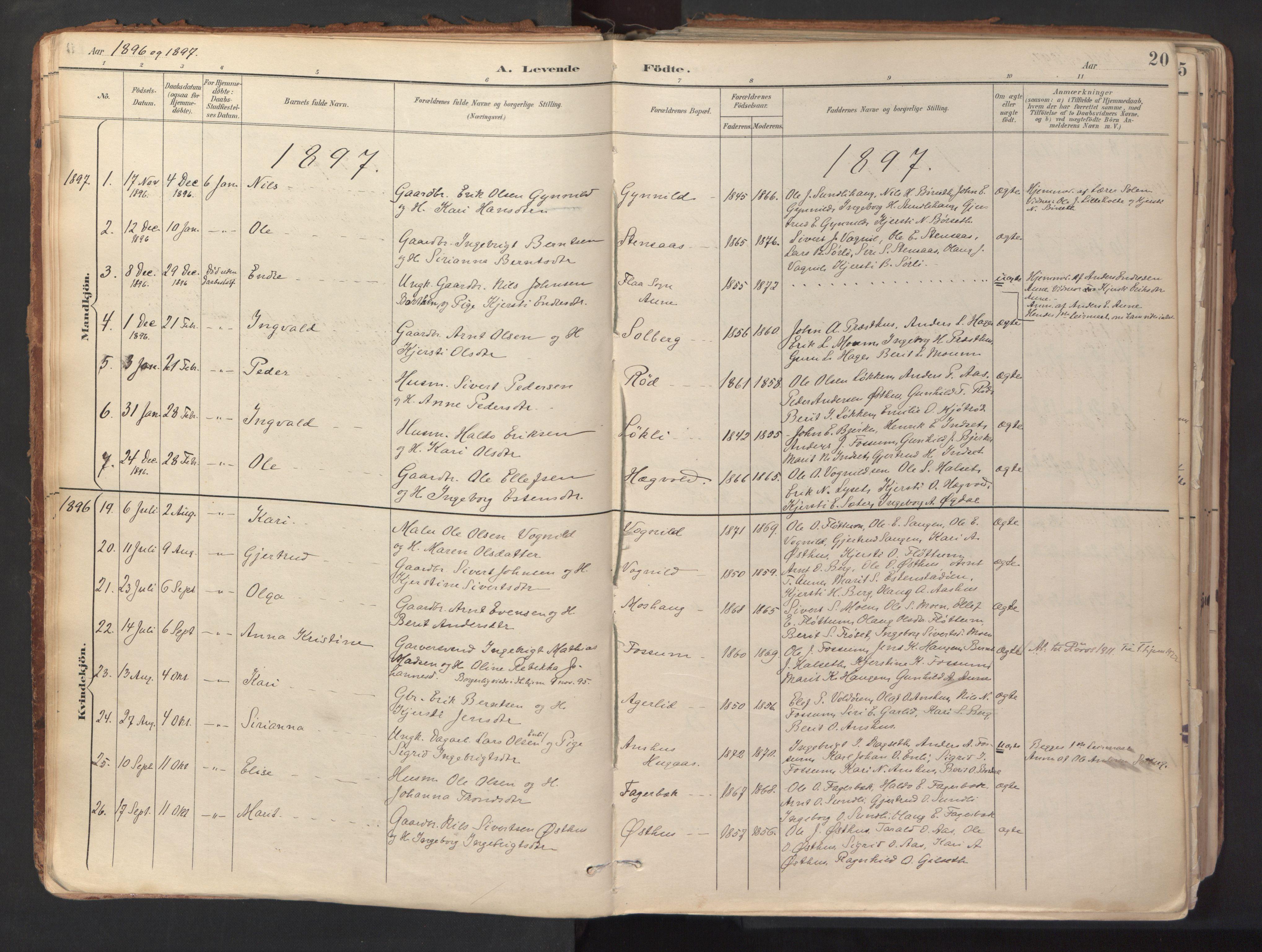 SAT, Ministerialprotokoller, klokkerbøker og fødselsregistre - Sør-Trøndelag, 689/L1041: Ministerialbok nr. 689A06, 1891-1923, s. 20