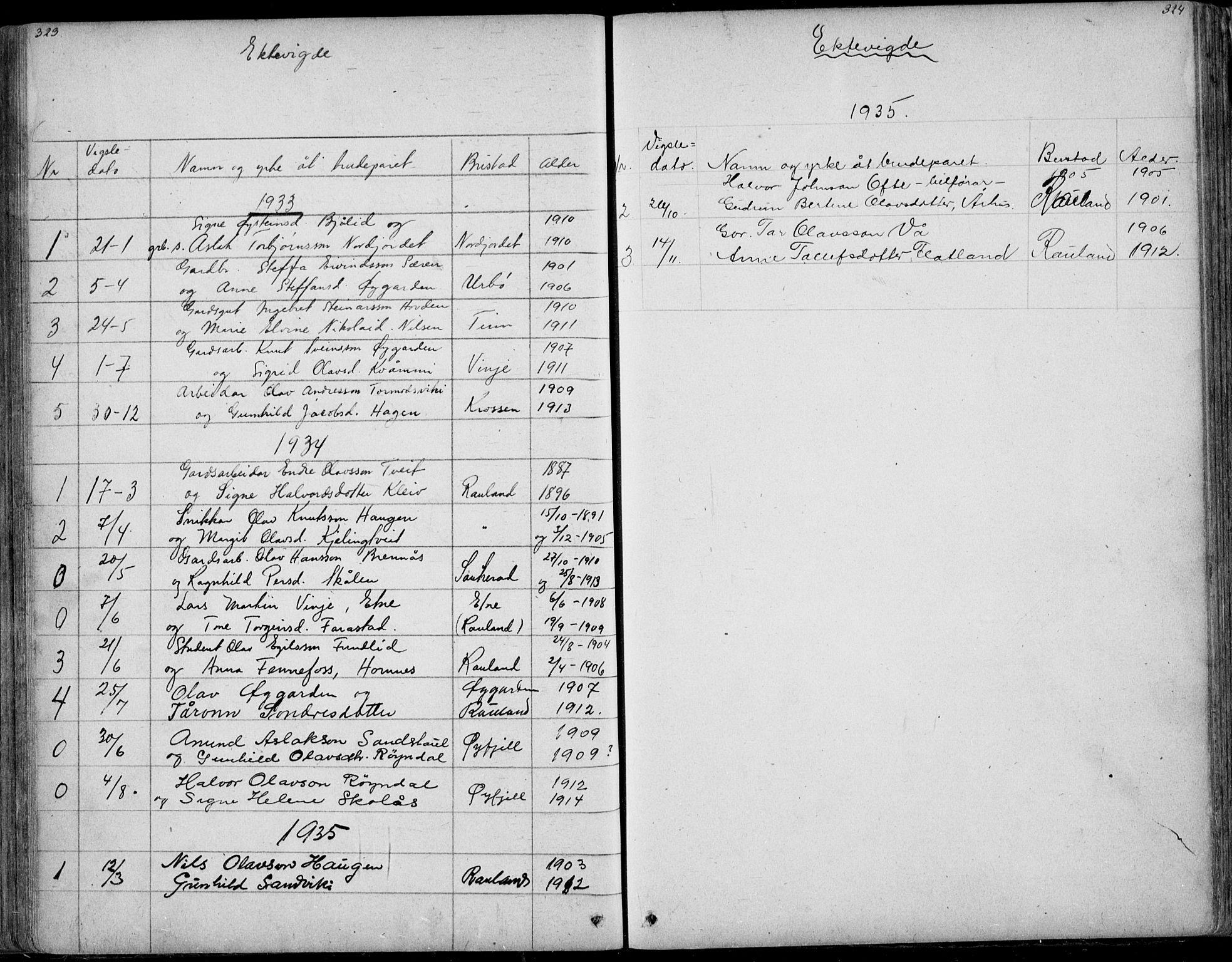 SAKO, Rauland kirkebøker, G/Ga/L0002: Klokkerbok nr. I 2, 1849-1935, s. 323-324