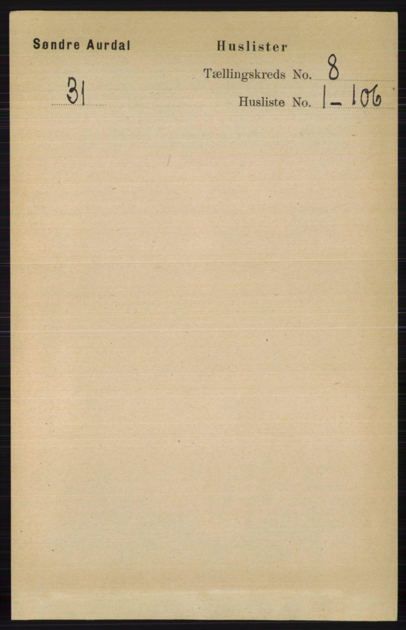 RA, Folketelling 1891 for 0540 Sør-Aurdal herred, 1891, s. 4750