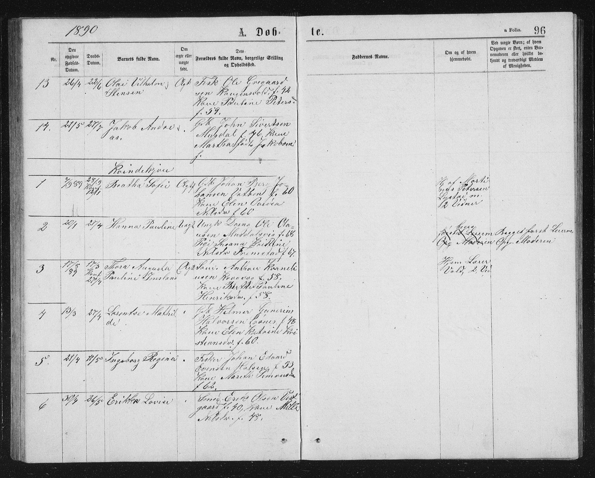 SAT, Ministerialprotokoller, klokkerbøker og fødselsregistre - Sør-Trøndelag, 662/L0756: Klokkerbok nr. 662C01, 1869-1891, s. 96