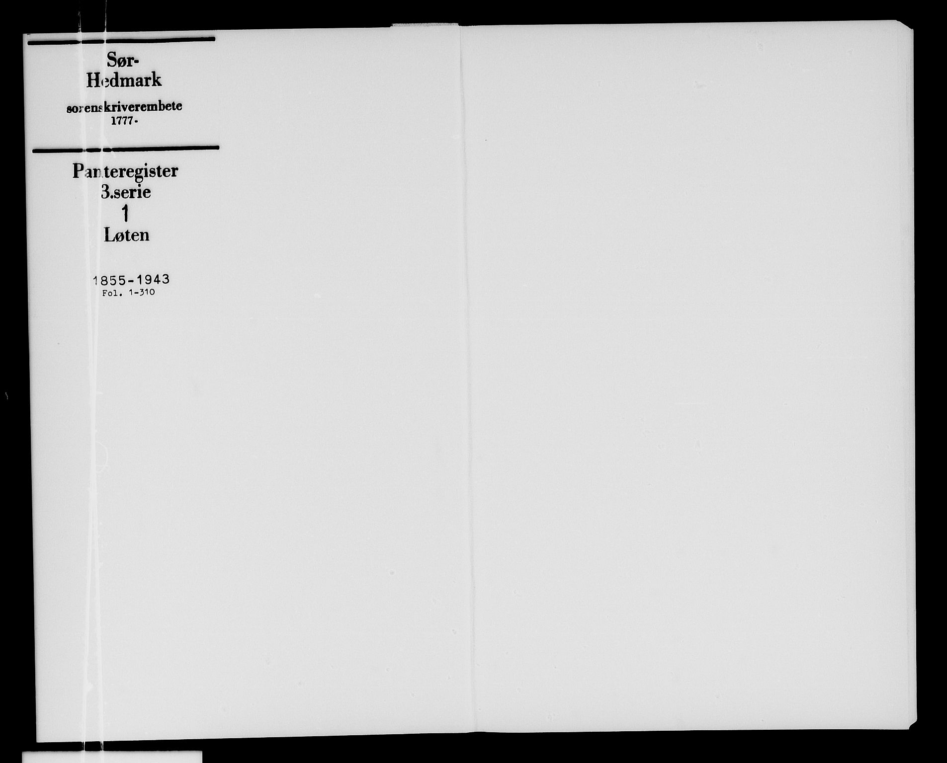SAH, Sør-Hedmark sorenskriveri, H/Ha/Hac/Hacc/L0001: Panteregister nr. 3.1, 1855-1943