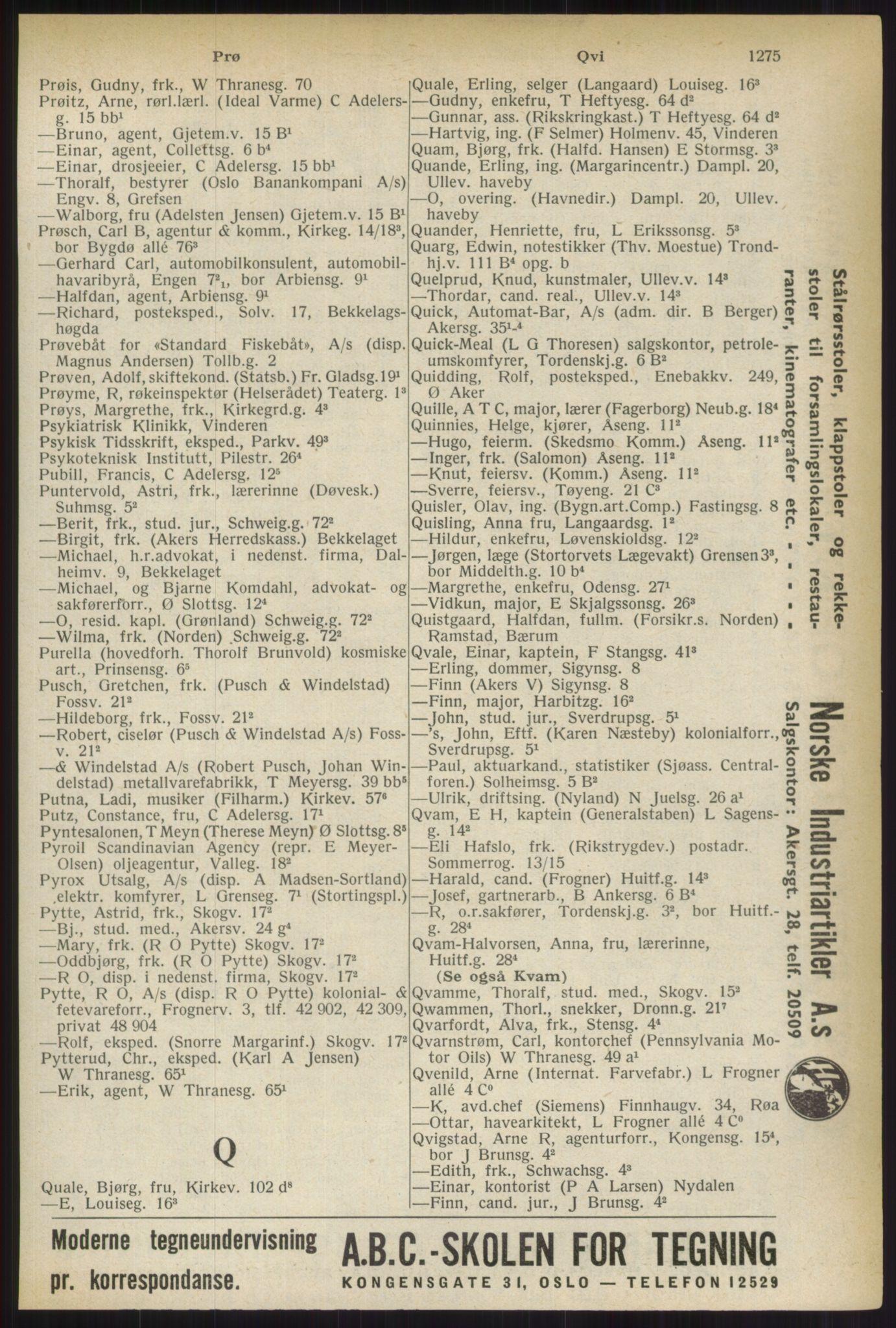 RA, Oslo adressebok (publikasjon)*, 1937, s. 1275