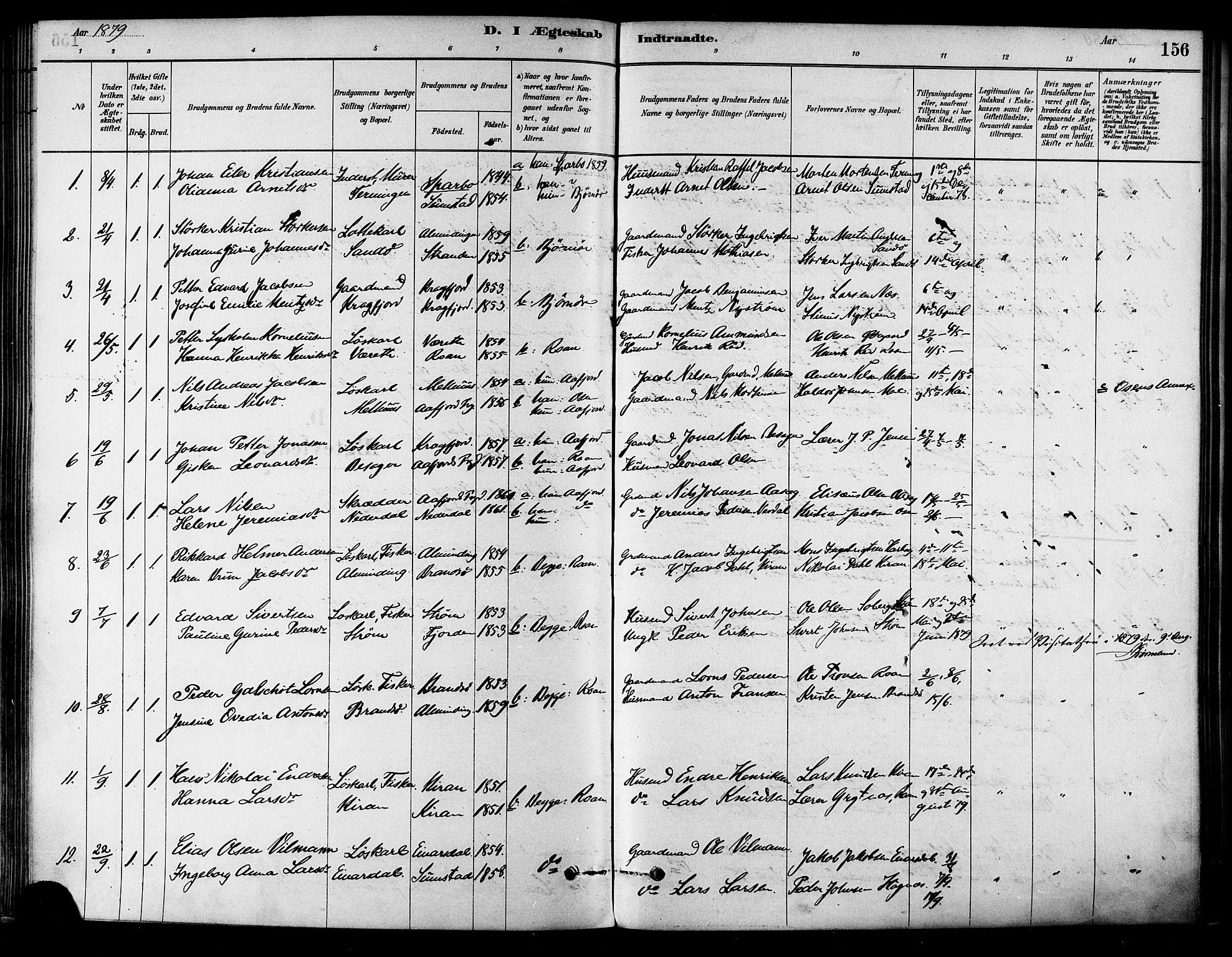 SAT, Ministerialprotokoller, klokkerbøker og fødselsregistre - Sør-Trøndelag, 657/L0707: Ministerialbok nr. 657A08, 1879-1893, s. 156