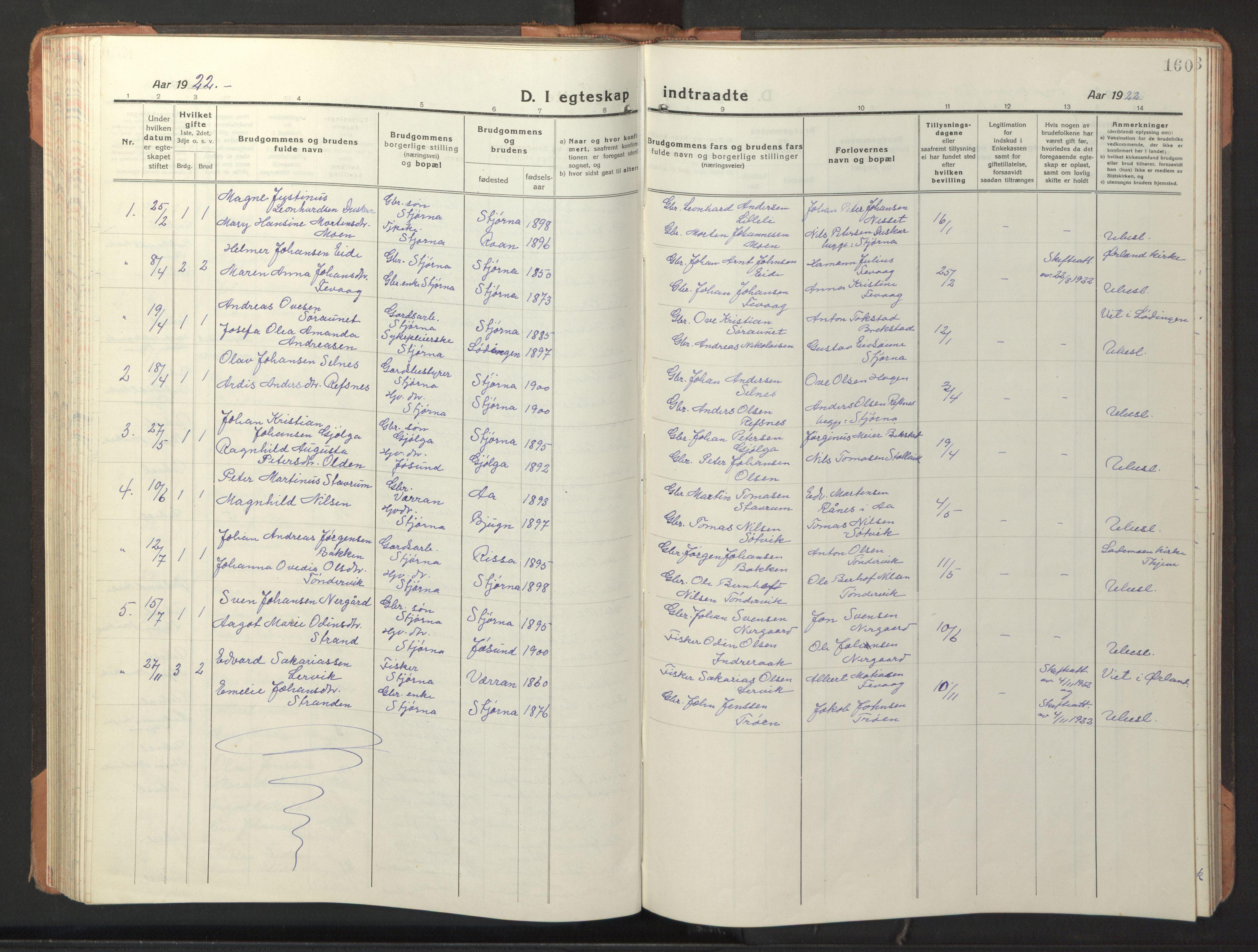 SAT, Ministerialprotokoller, klokkerbøker og fødselsregistre - Sør-Trøndelag, 653/L0658: Klokkerbok nr. 653C02, 1919-1947, s. 160