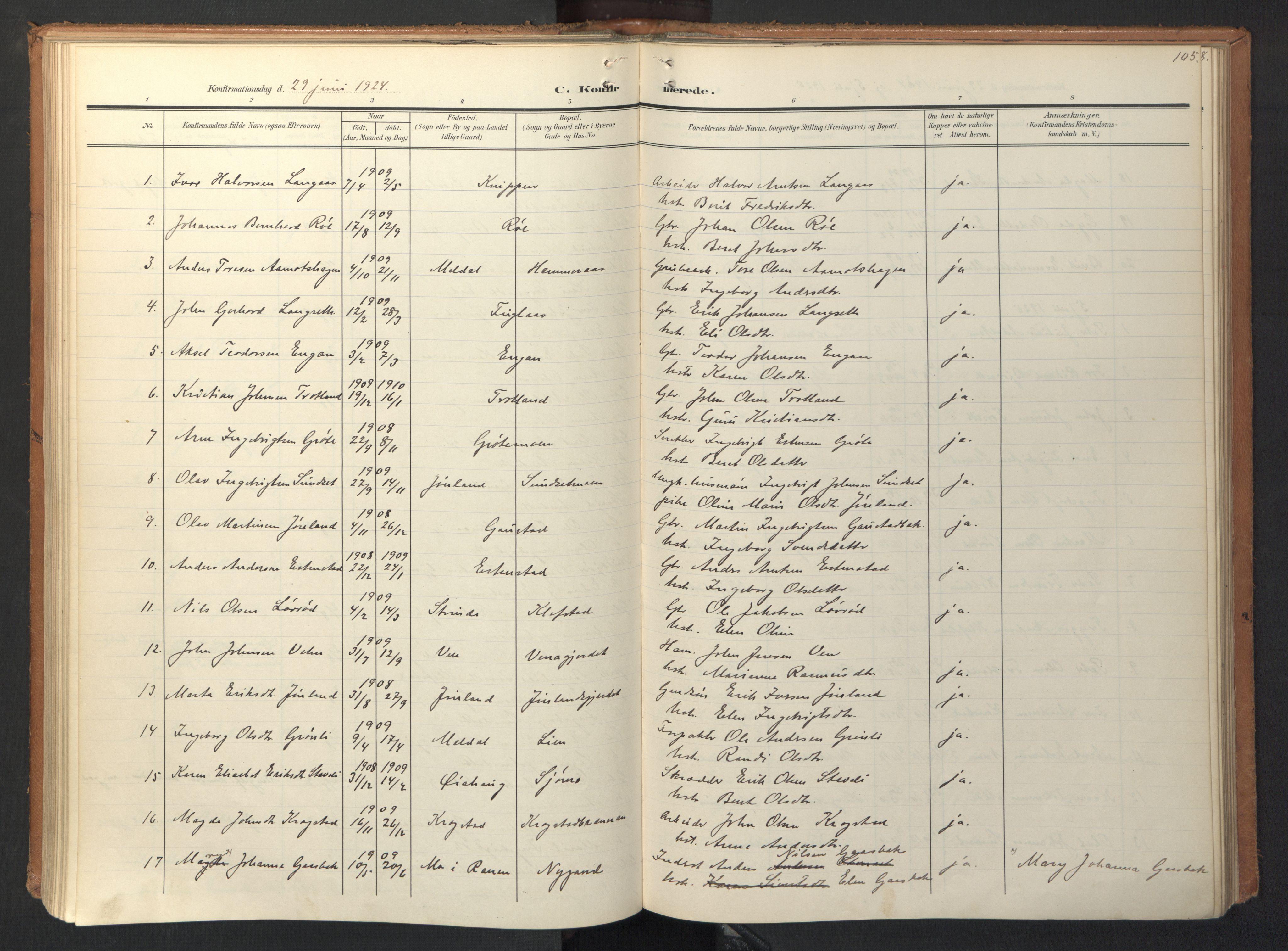 SAT, Ministerialprotokoller, klokkerbøker og fødselsregistre - Sør-Trøndelag, 694/L1128: Ministerialbok nr. 694A02, 1906-1931, s. 105