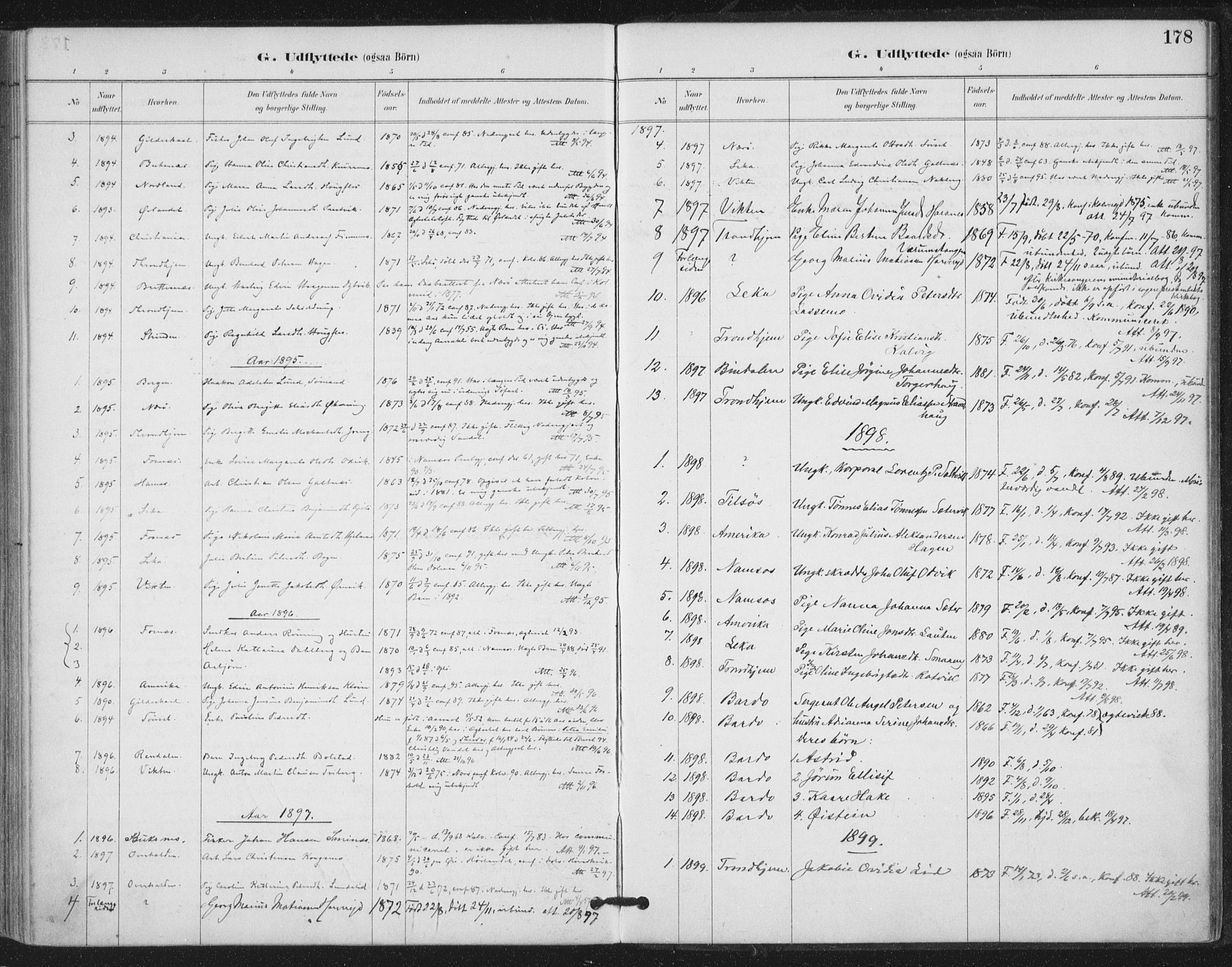 SAT, Ministerialprotokoller, klokkerbøker og fødselsregistre - Nord-Trøndelag, 780/L0644: Ministerialbok nr. 780A08, 1886-1903, s. 178