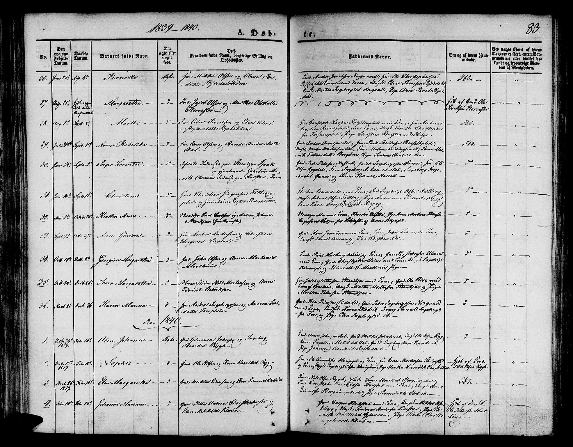 SAT, Ministerialprotokoller, klokkerbøker og fødselsregistre - Nord-Trøndelag, 746/L0445: Ministerialbok nr. 746A04, 1826-1846, s. 83