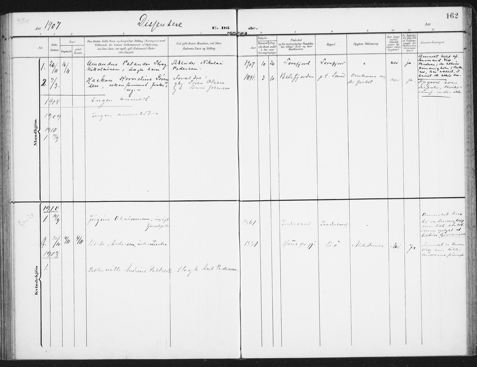 SAT, Ministerialprotokoller, klokkerbøker og fødselsregistre - Nordland, 885/L1206: Ministerialbok nr. 885A07, 1905-1915, s. 162