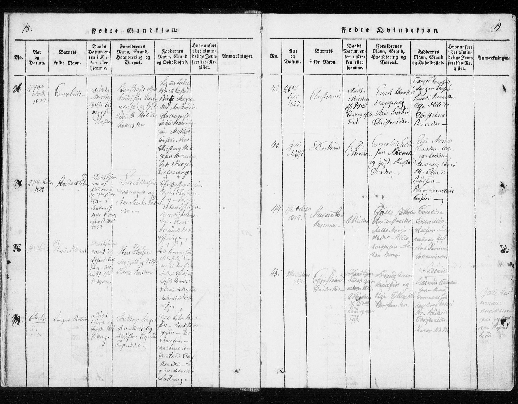SATØ, Tranøy sokneprestkontor, I/Ia/Iaa/L0004kirke: Ministerialbok nr. 4, 1820-1829, s. 18-19