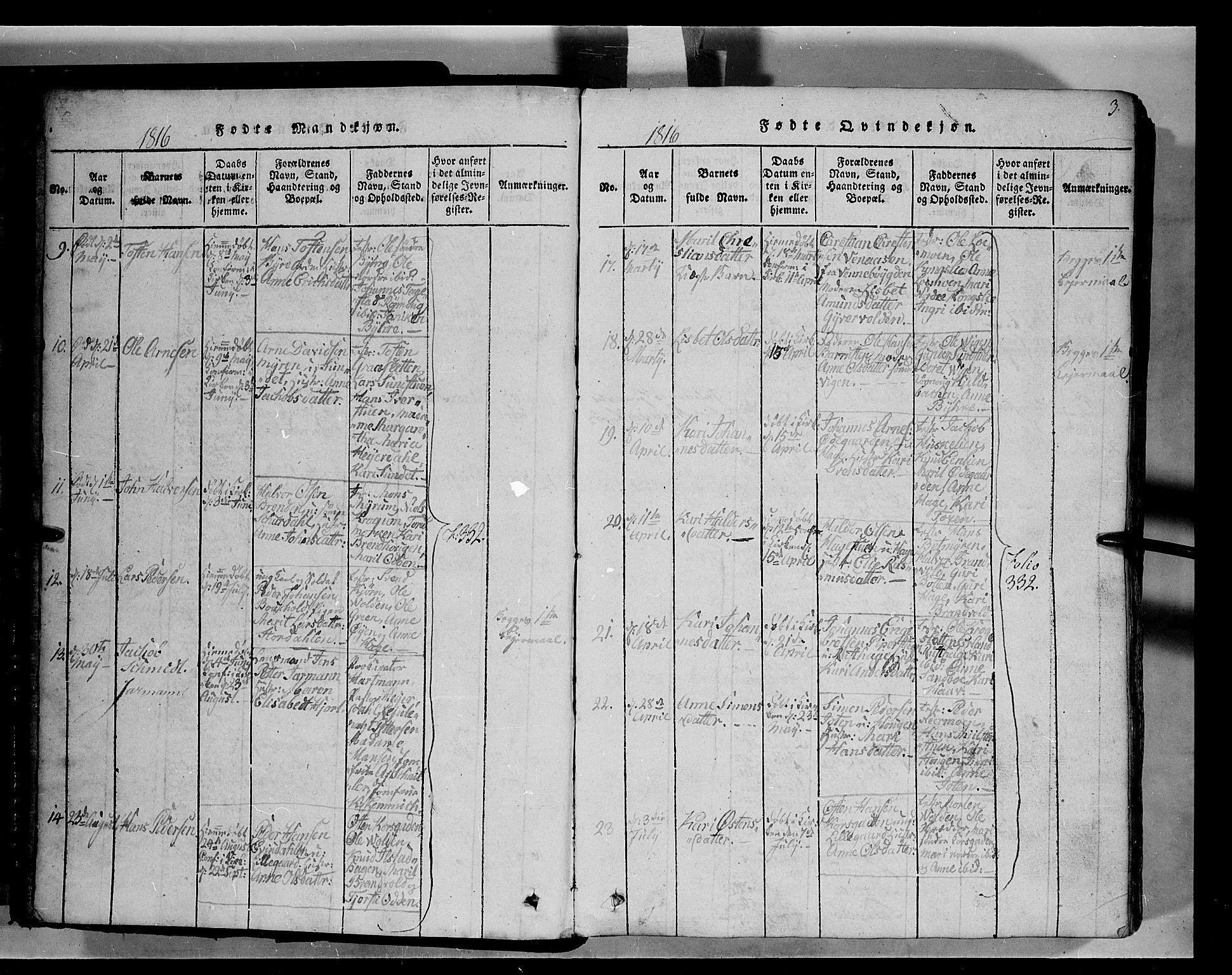 SAH, Fron prestekontor, H/Ha/Hab/L0004: Klokkerbok nr. 4, 1816-1850, s. 3