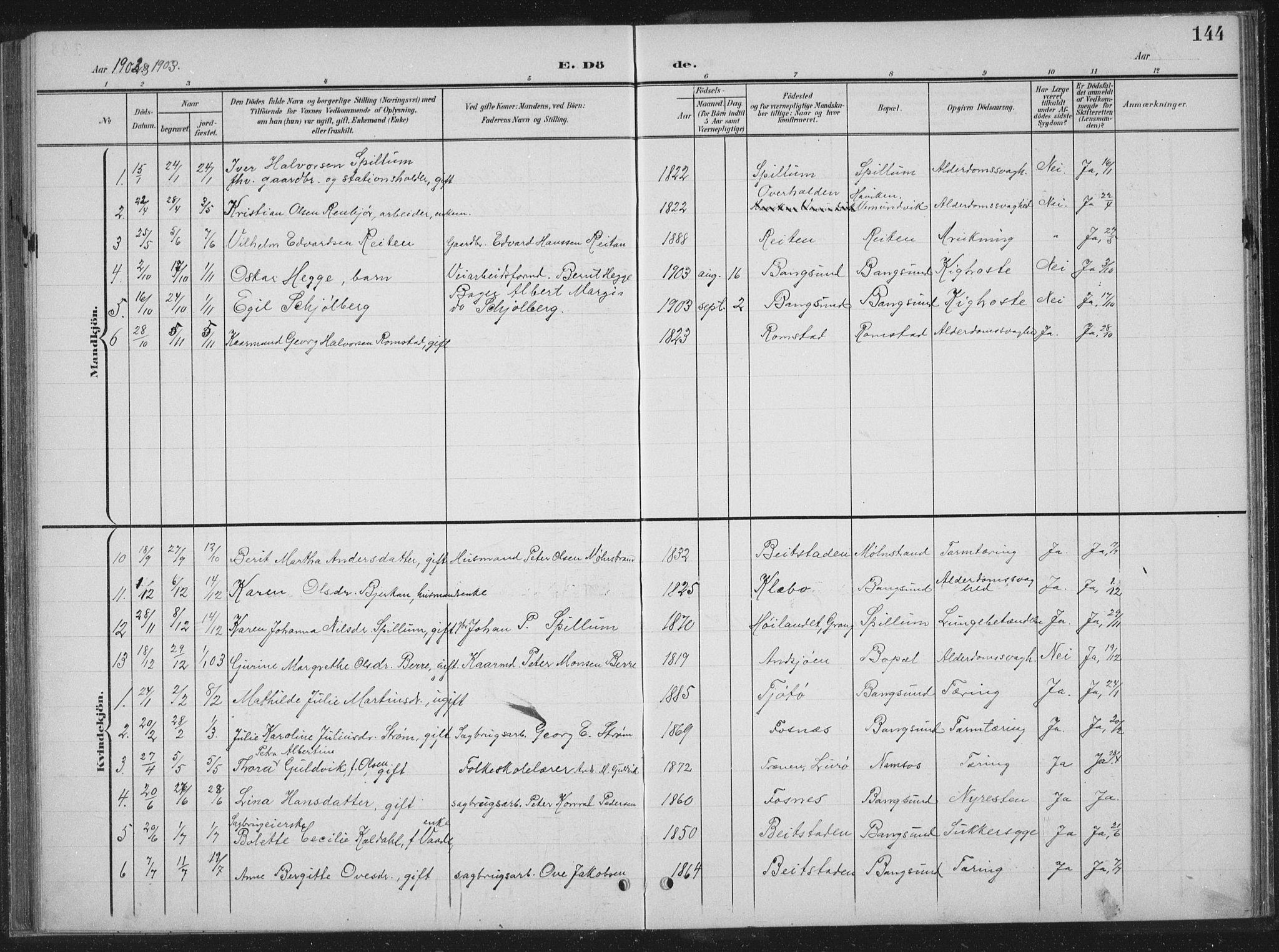 SAT, Ministerialprotokoller, klokkerbøker og fødselsregistre - Nord-Trøndelag, 770/L0591: Klokkerbok nr. 770C02, 1902-1940, s. 144