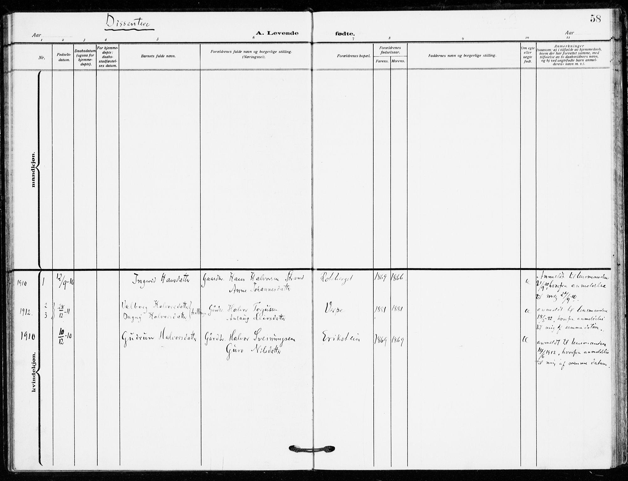 SAKO, Bø kirkebøker, F/Fa/L0013: Ministerialbok nr. 13, 1909-1921, s. 58